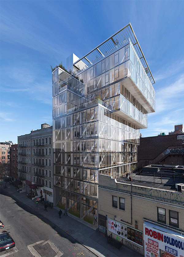 Architectural Rendering of the exterior of the 100 Norfolk Street project located on Manhattan's Lower East Side, New York City