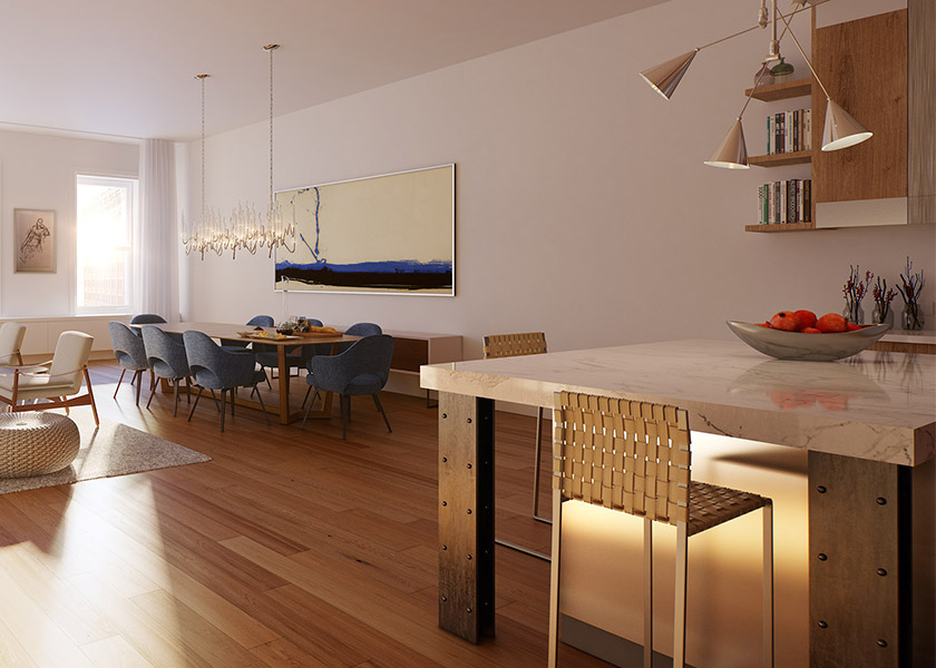 Architectural Rendering of the interior of the 15 Hubert Street project located in Tribeca, New York City
