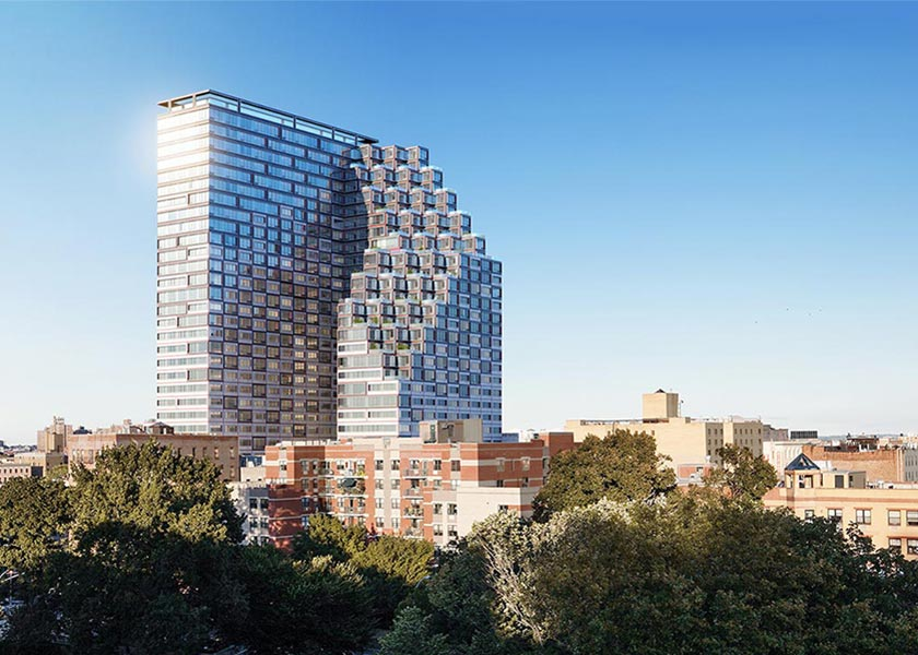Architectural Rendering of the exterior of the 1800 Park Avenue project located in East Harlem, New York City