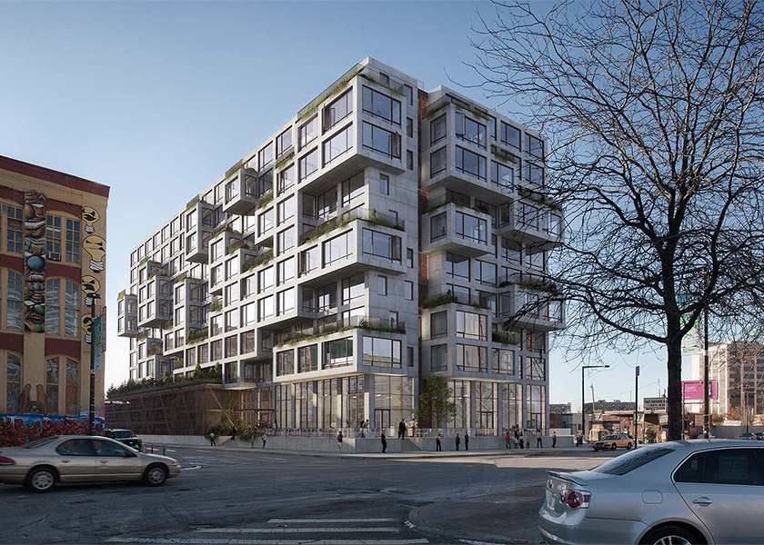 Architectural Rendering of the exterior of the 22-25 Jackson Avenue project located in Queens, New York