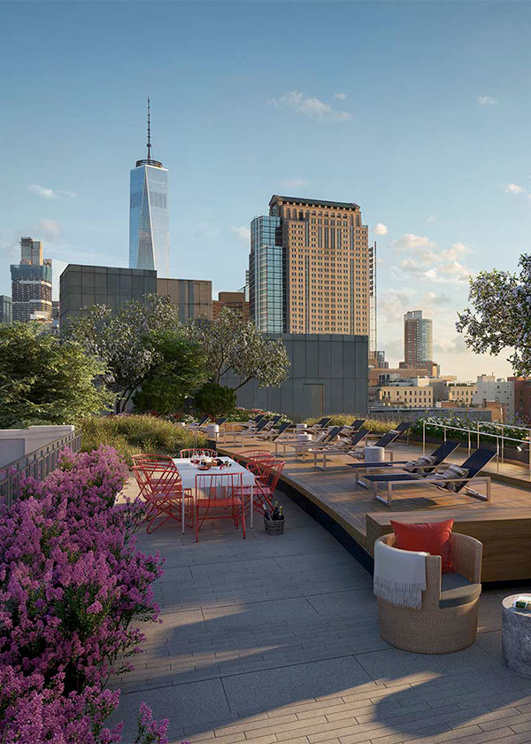 Architectural Rendering of the terrace of the 261 Hudson project located in West Soho, New York City