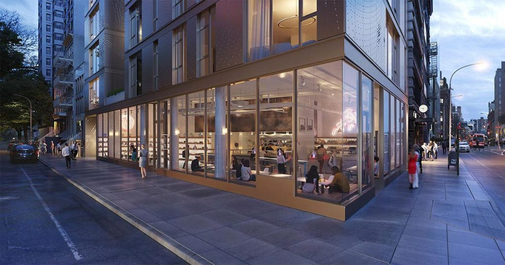 Architectural Rendering of the exterior of the 80 East 10th Street project located in Greenwich Village, New York City