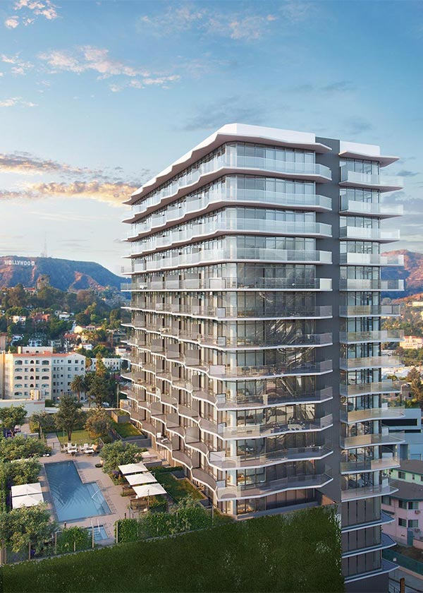 Architectural Rendering of the exterior of the Argyle House project located in Hollywood, California