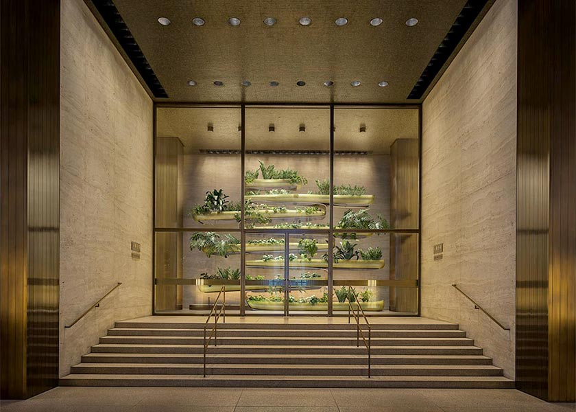 "Architectural Rendering of the ""Canoes"" permanent exhibition from Paula Hayes at the Seagram Building in New York City"