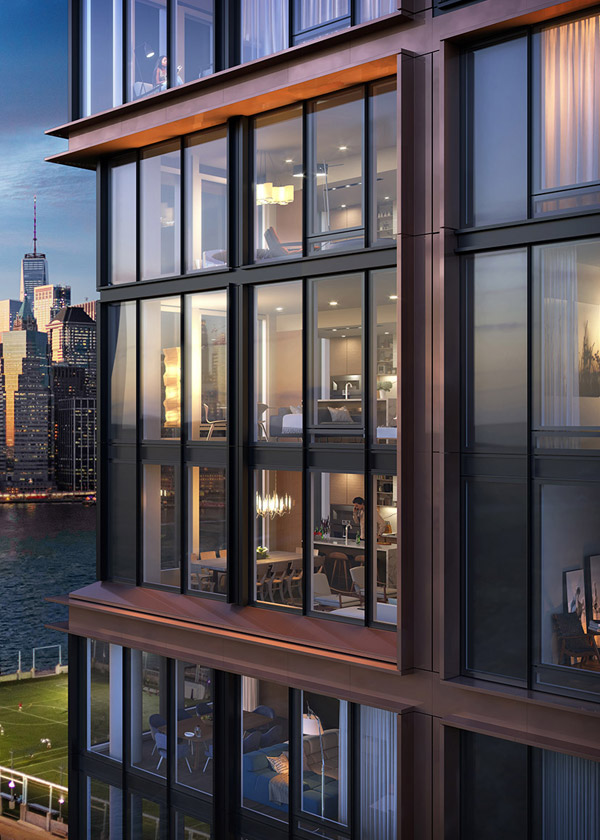 Architectural Rendering of the exterior of the The Quay Tower project located in Brooklyn Heights, New York