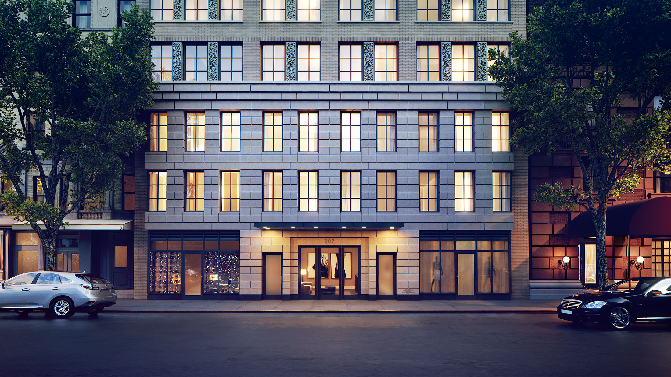 Architectural Rendering of the entrance of the 207 West 79th Street project located on the Upper West Side, New York City