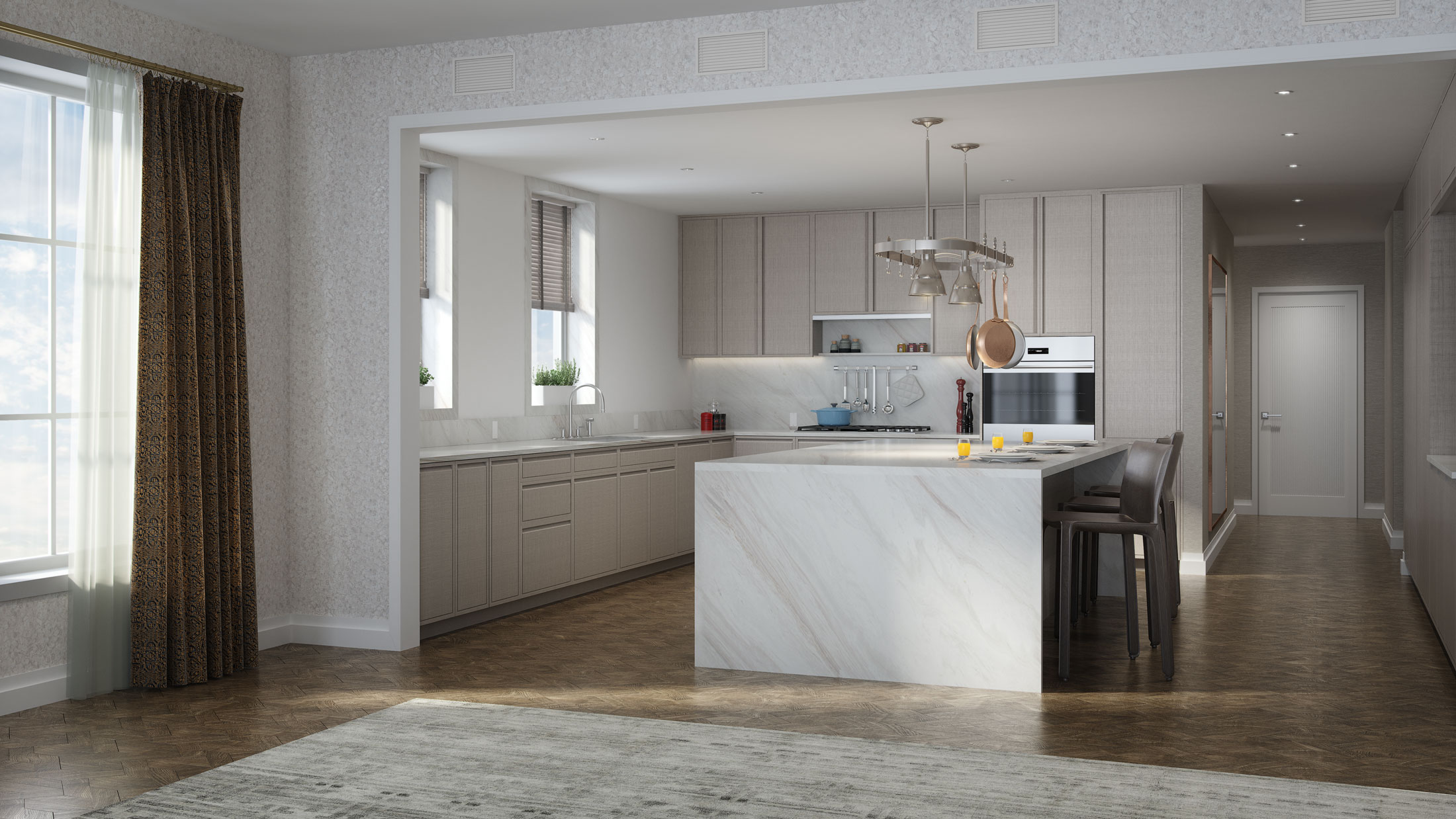 Architectural Rendering of the kitchen of the 207 West 79th Street project located on the Upper West Side, New York City