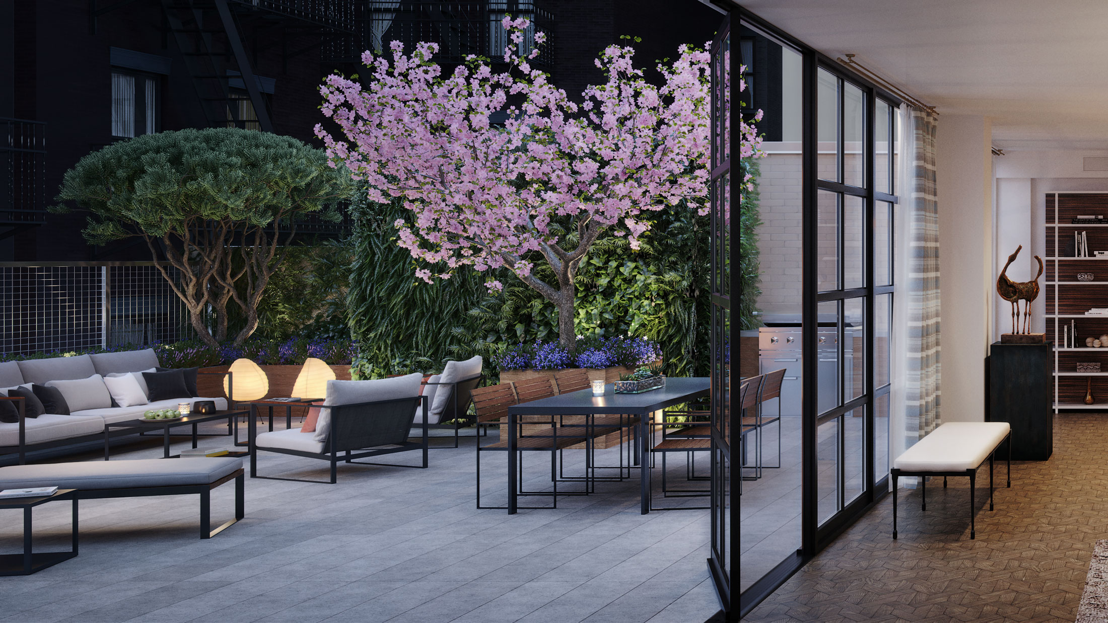 Architectural Rendering of the backyard of the 207 West 79th Street project located on the Upper West Side, New York City