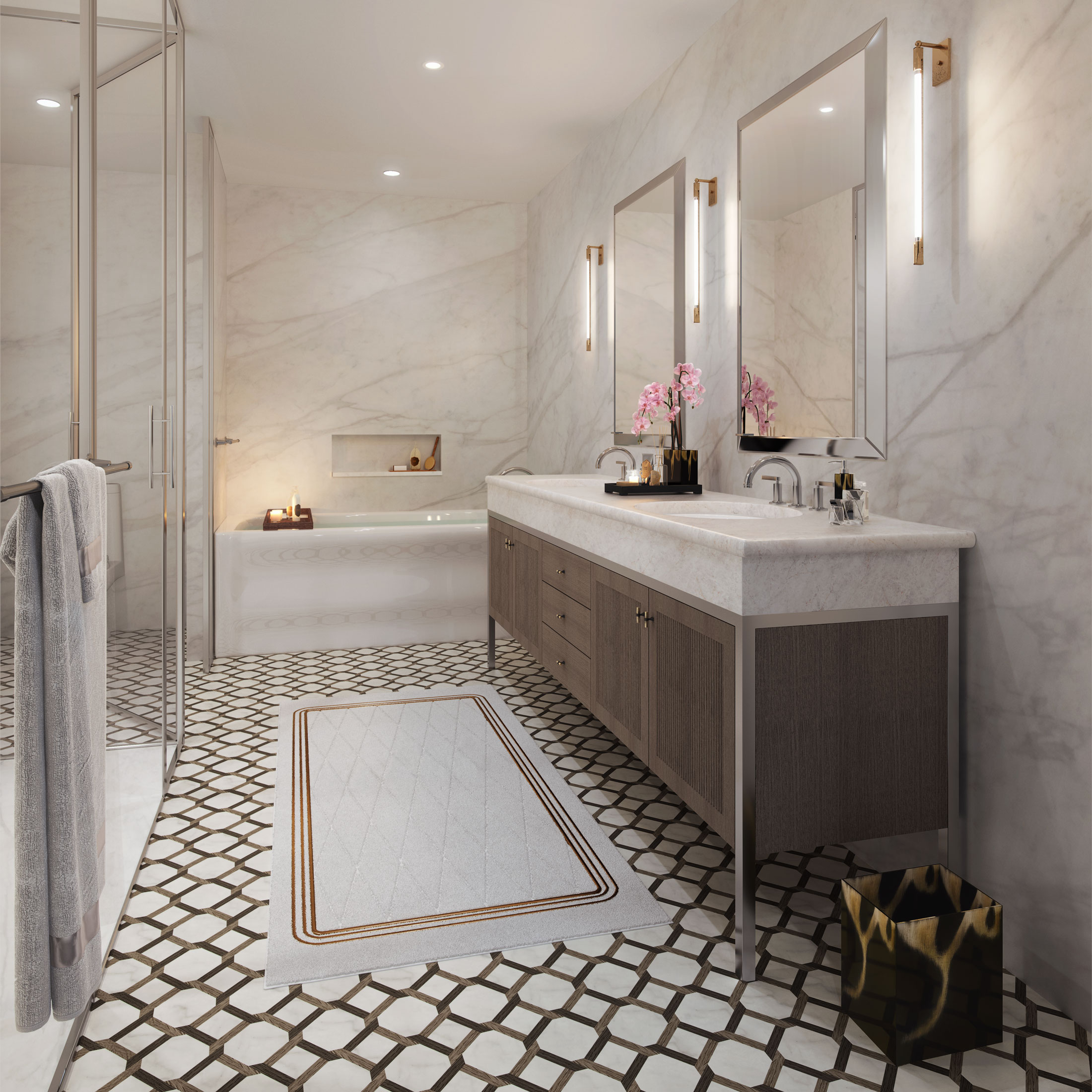 Architectural Rendering of the master bathroom of the 207 West 79th Street project located on the Upper West Side, New York City