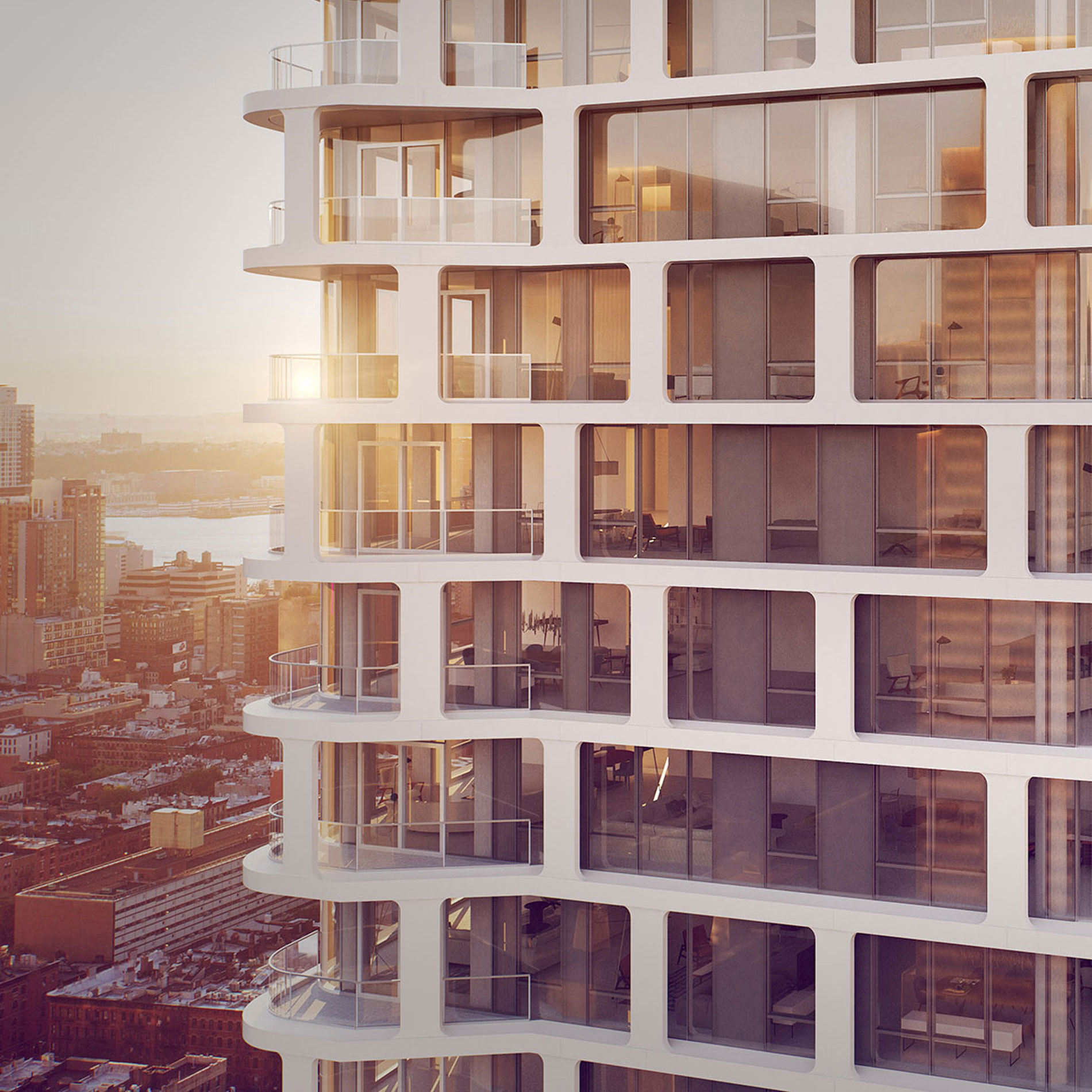Architectural Rendering of the exterior of the 242 West 53rd Street project located in Midtown, New York City