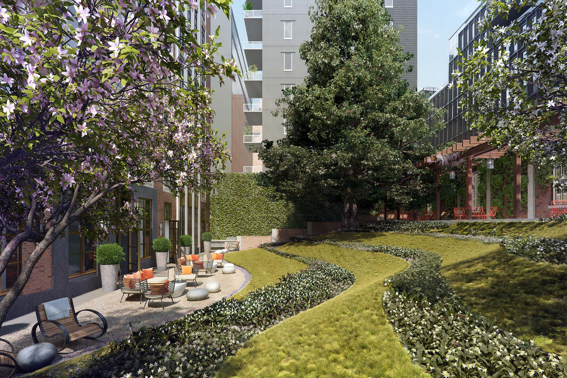 Architectural Rendering of the courtyard of the 261 Hudson project located in West Soho, New York City
