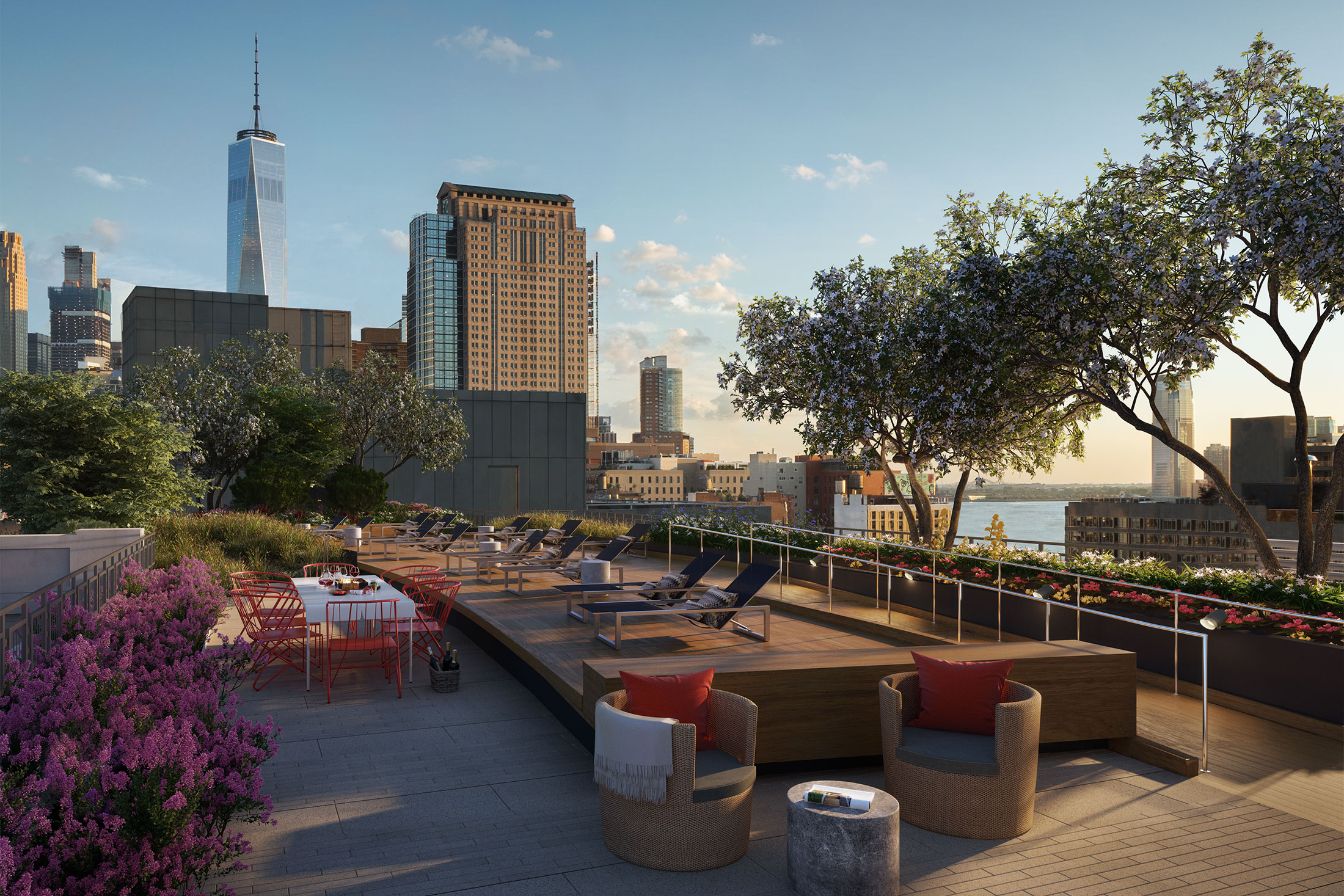 Architectural Rendering of the rooftop of the 261 Hudson project located in West Soho, New York City
