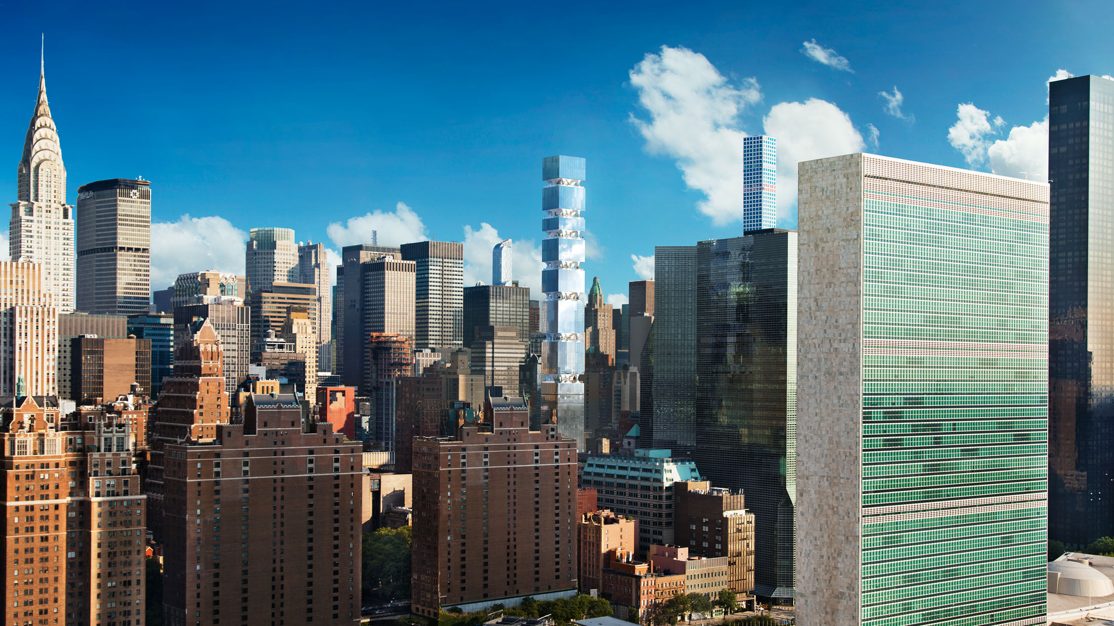 Architectural Rendering of the exterior of the 303 East 44th Street project located in Midtown East, New York City