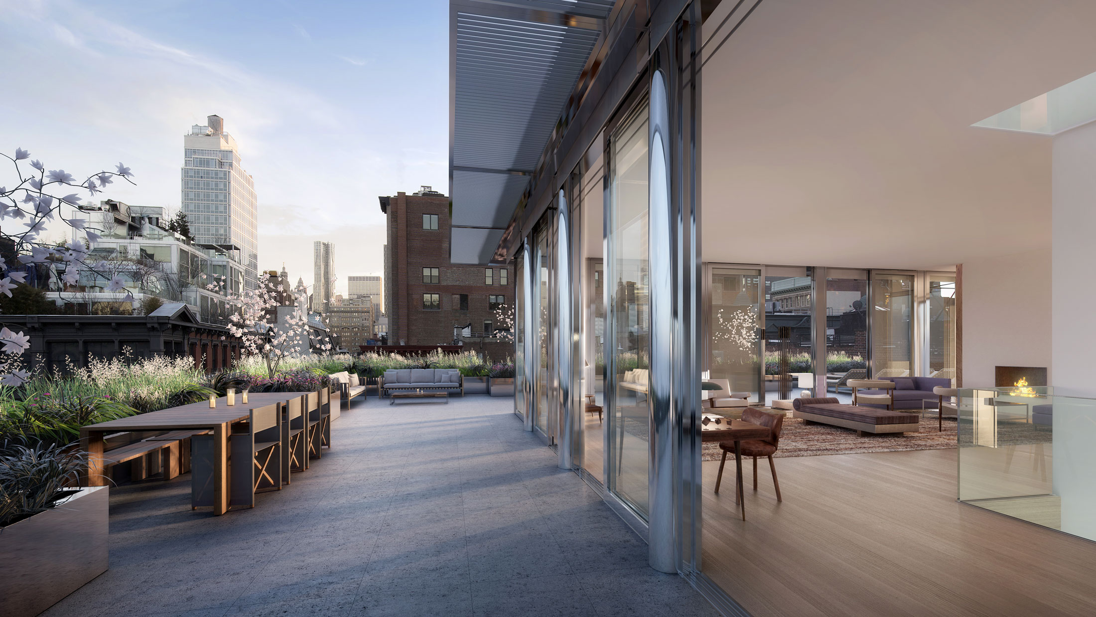 Architectural Rendering of the terrace of the 42 Crosby Street project located in Soho, New York City