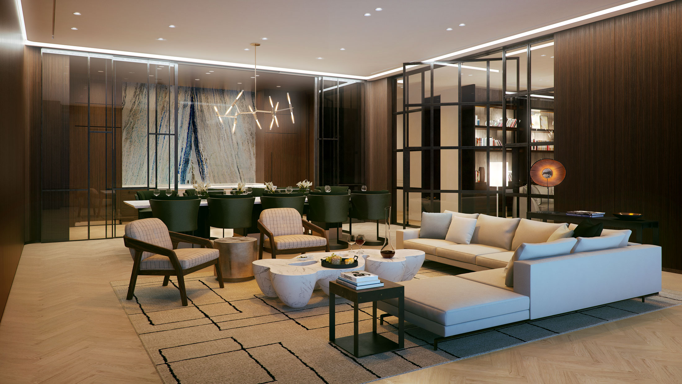 Architectural Rendering of the interior of the 456 Washington Street project located in Tribeca, New York City
