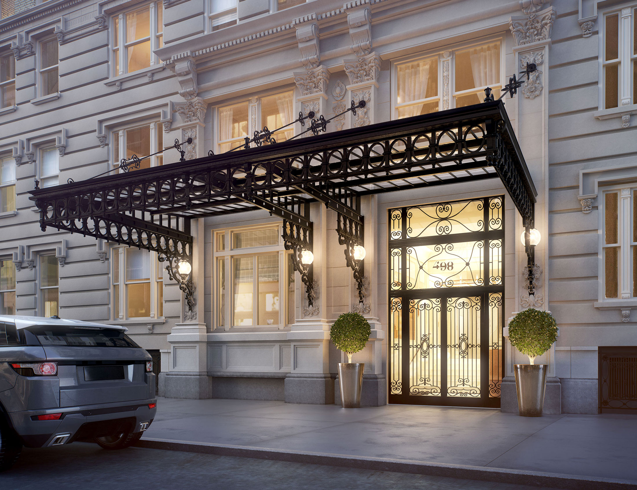 Architectural Rendering of the entrance of the 498 West End Avenue project located on the Upper West Side, New York City