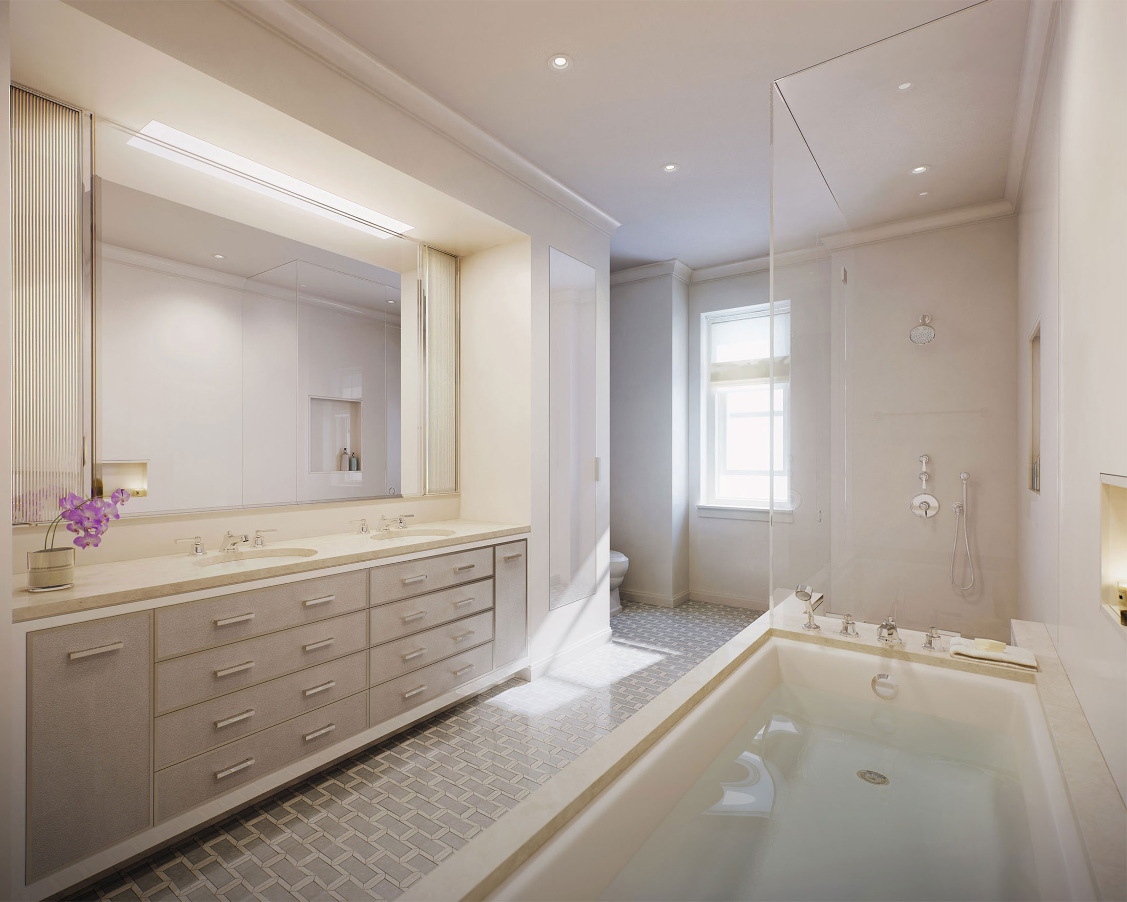 Architectural Rendering of the bathroom of the 498 West End Avenue project located on the Upper West Side, New York City