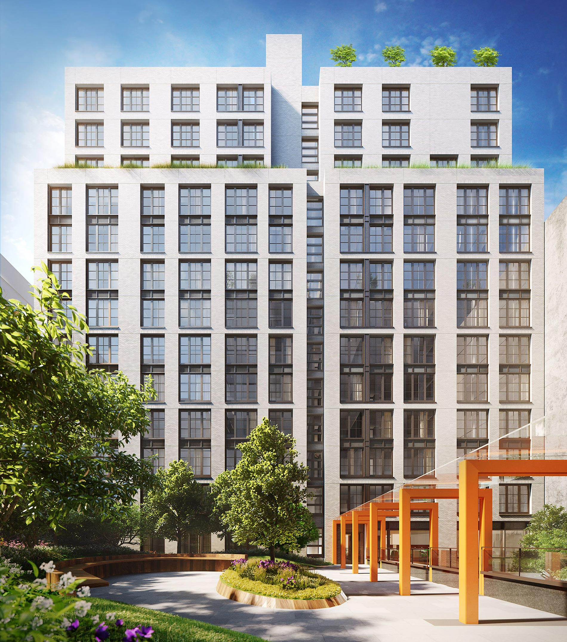 Architectural Rendering of the courtyard of the 535 West 43rd Street project located in Hell's Kitchen, New York City