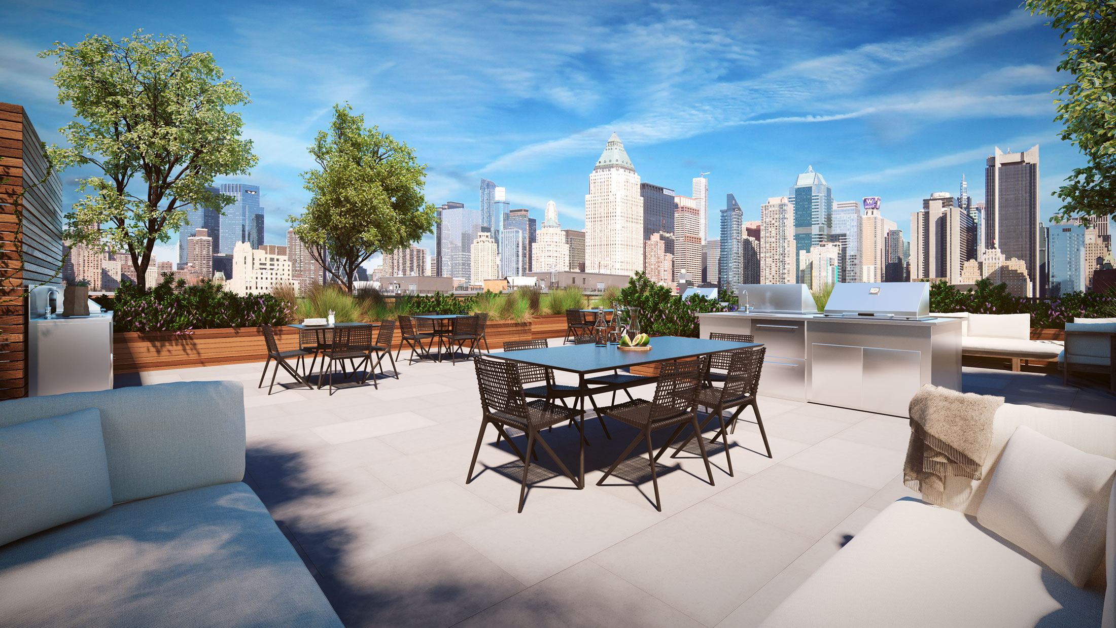 Architectural Rendering of the rooftop of the 535 West 43rd Street project located in Hell's Kitchen, New York City