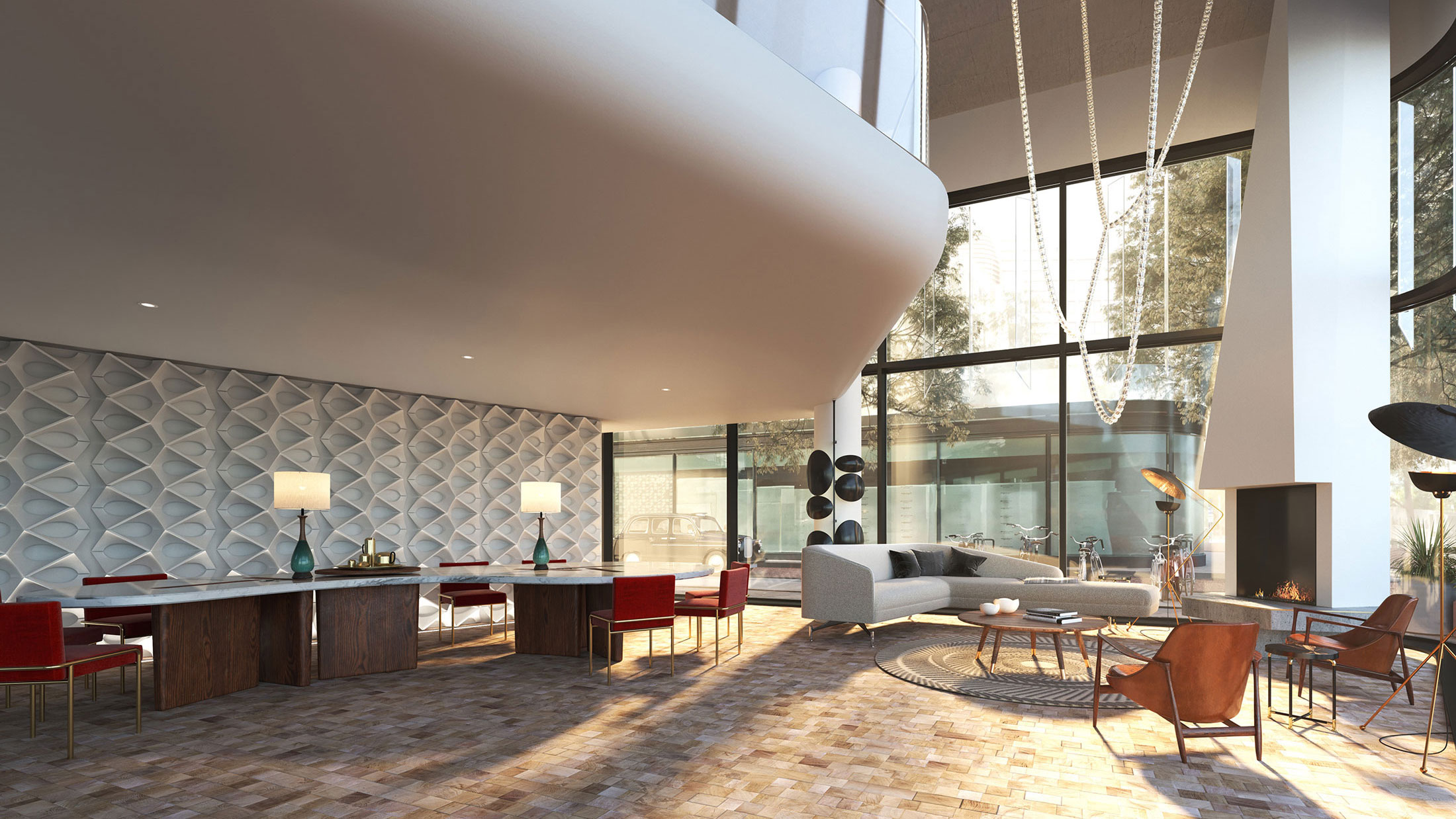 Architectural Rendering of the interior of the Bankside Hotel project located in London, England