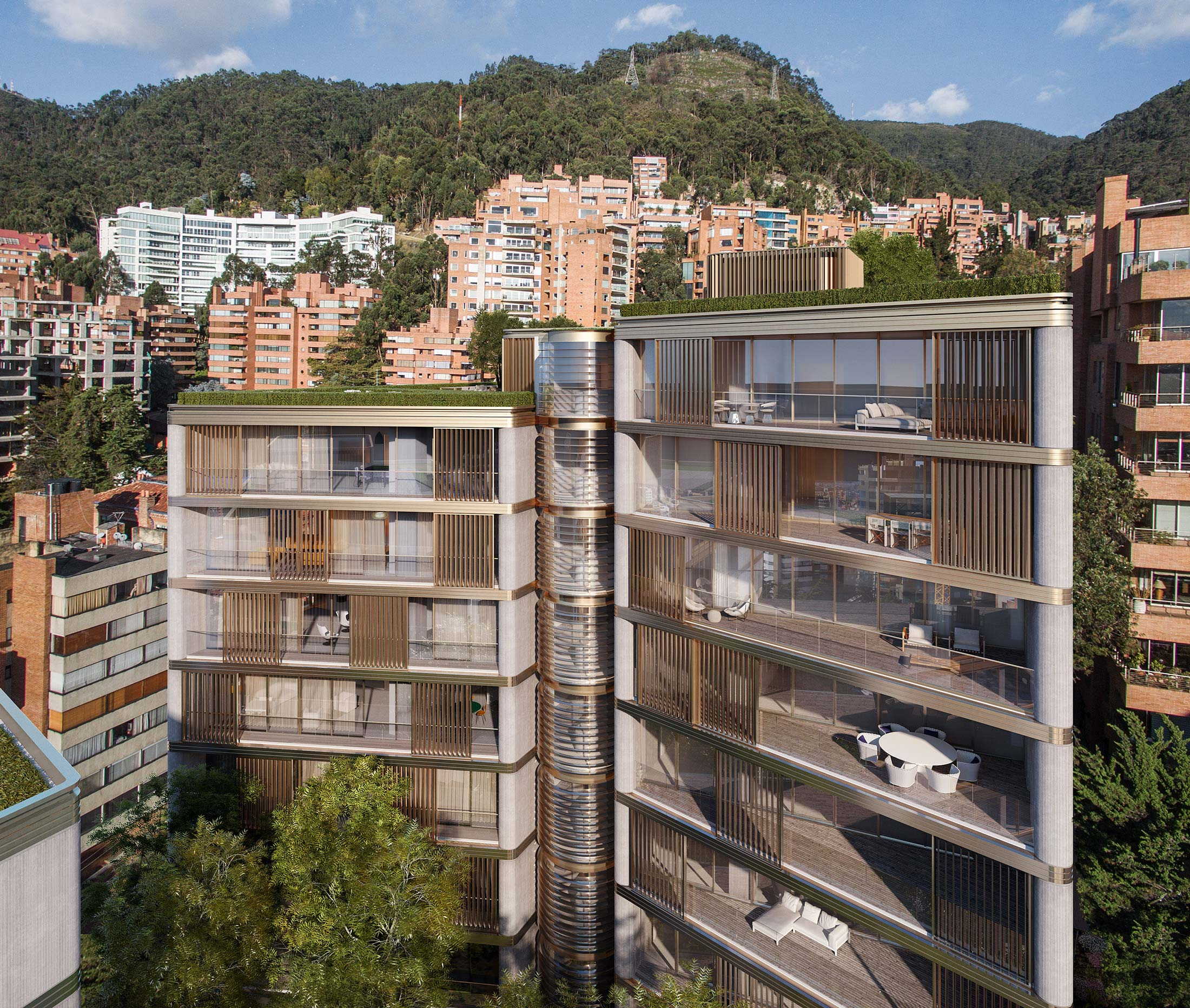 Architectural Rendering of the exterior of the Calle 79B project located in Bogotá, Colombia