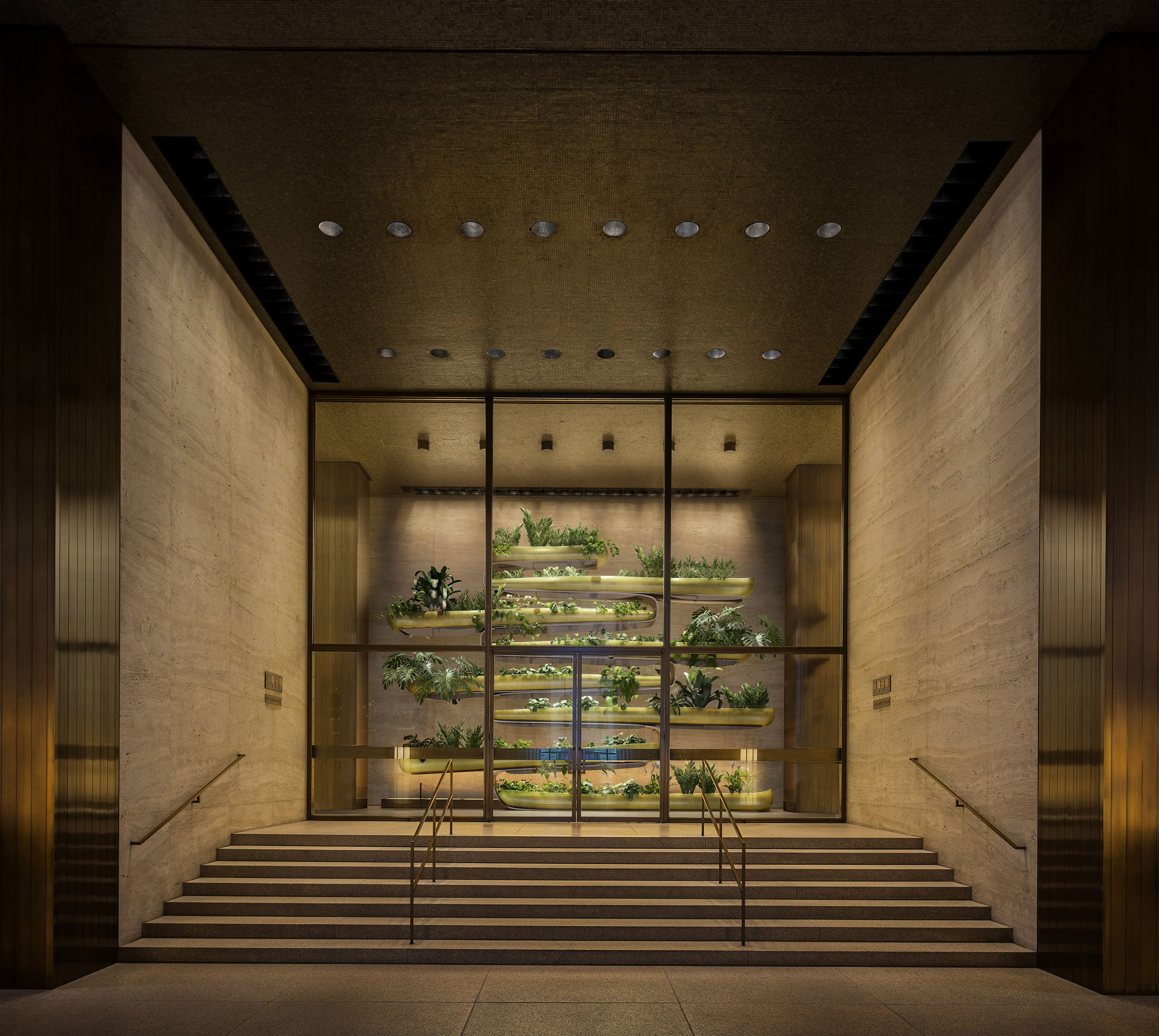 "Architectural Rendering of the view from the entrance of the ""Canoes"" Permanent exhibition from Paula Hayes at the Seagram Building, New York City"