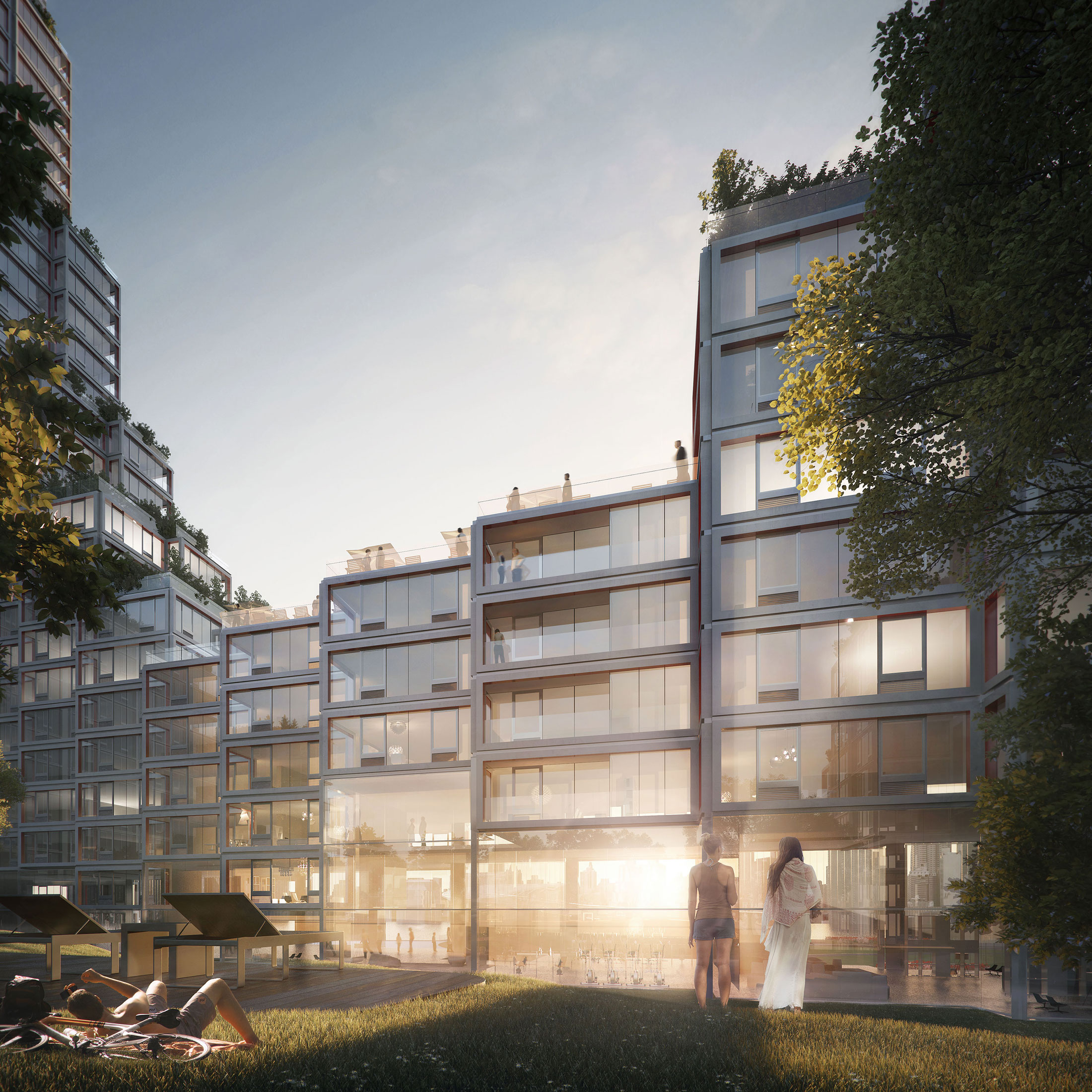Architectural Rendering of the courtyard of the Hunter's Point South project located in Queens, New York