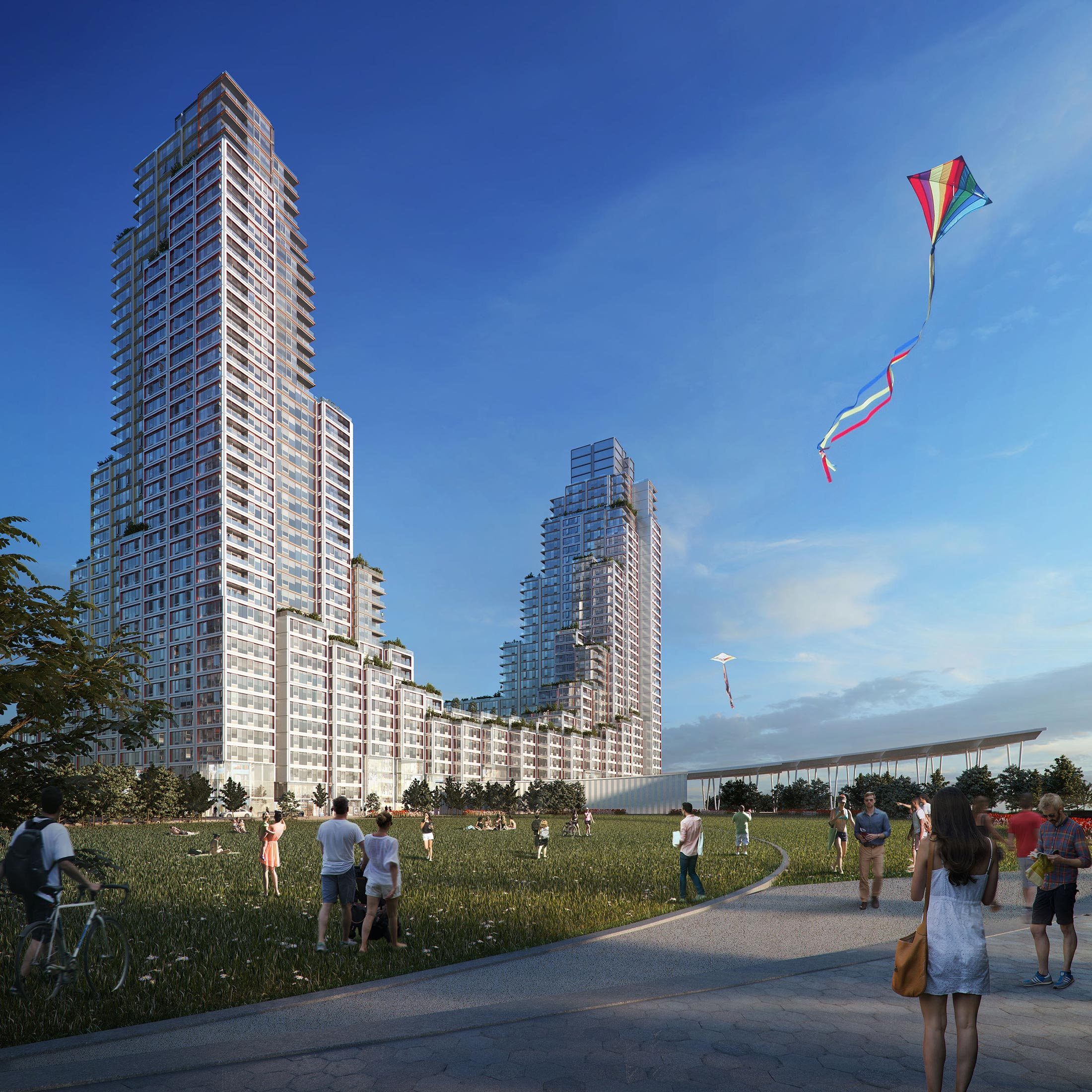 Architectural Rendering of the exterior of the Hunter's Point South project located in Queens, New York