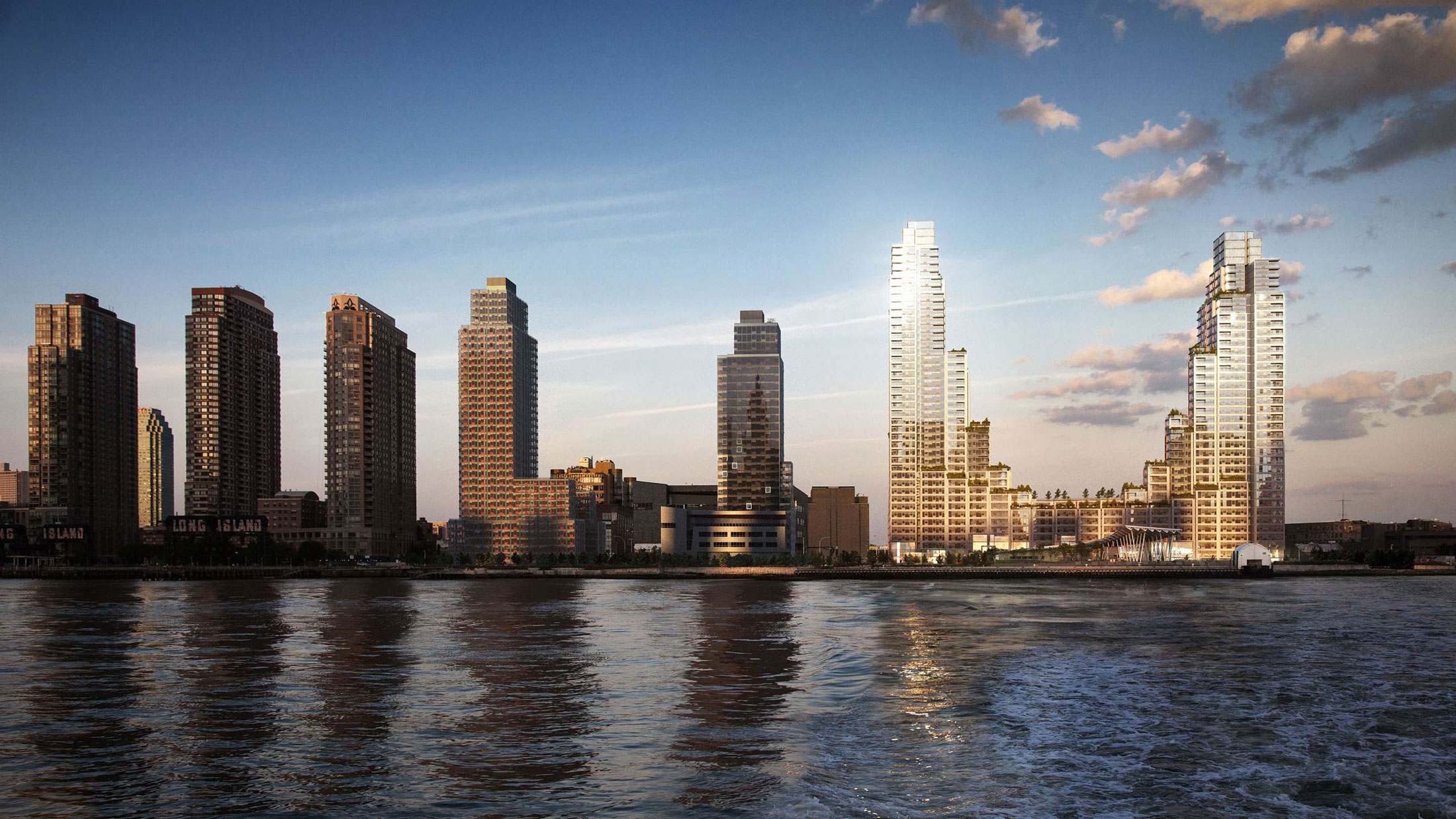 Architectural Rendering of the view from the ferry of the Hunter's Point South project located in Queens, New York