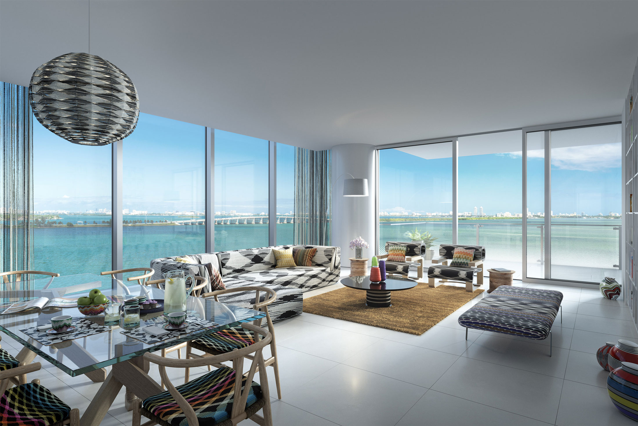 Architectural Rendering of the interior of the Missoni Baia project located in Miami, Florida