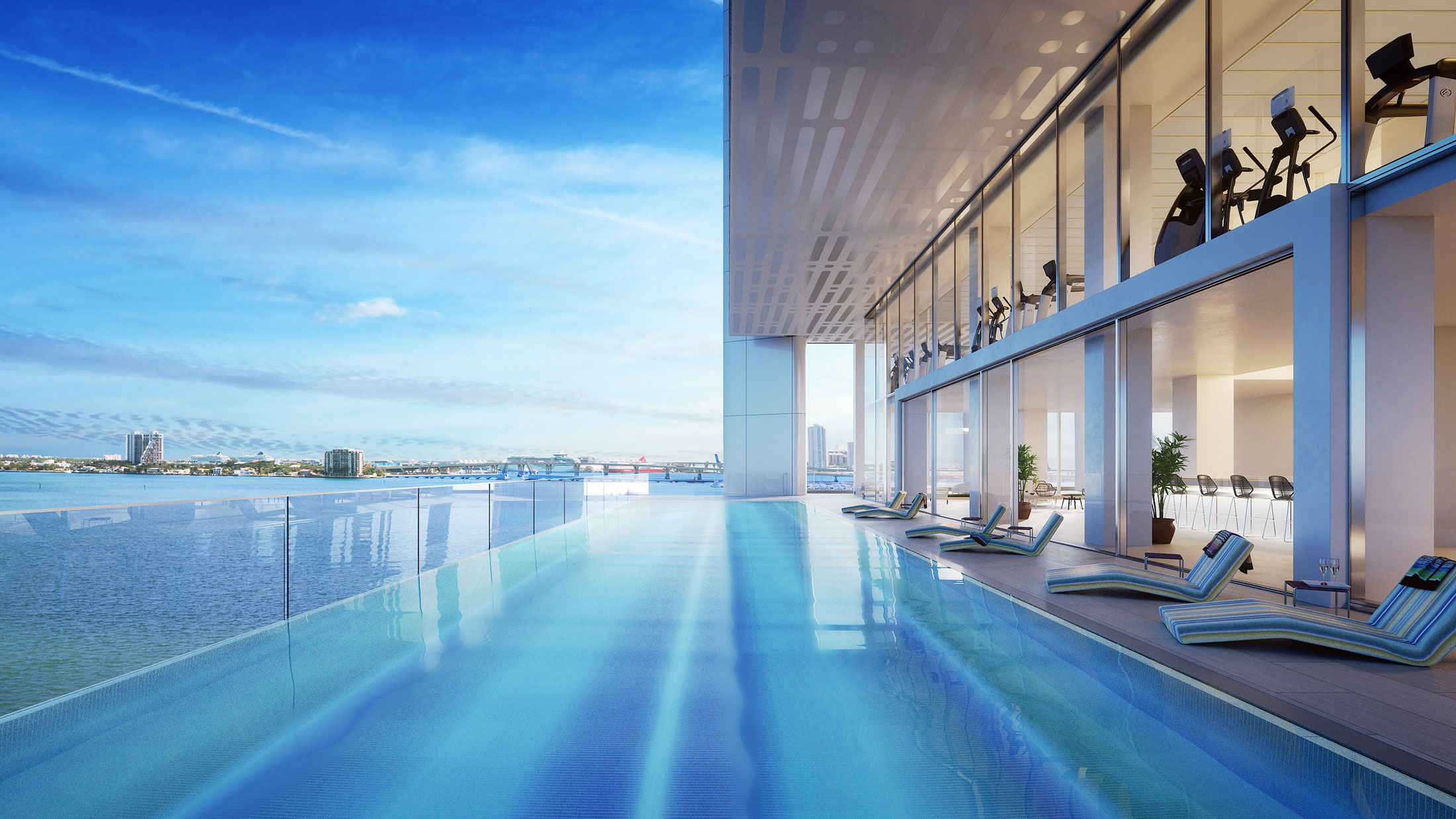 Architectural Rendering of the infinty pool of the Missoni Baia project located in Miami, Florida