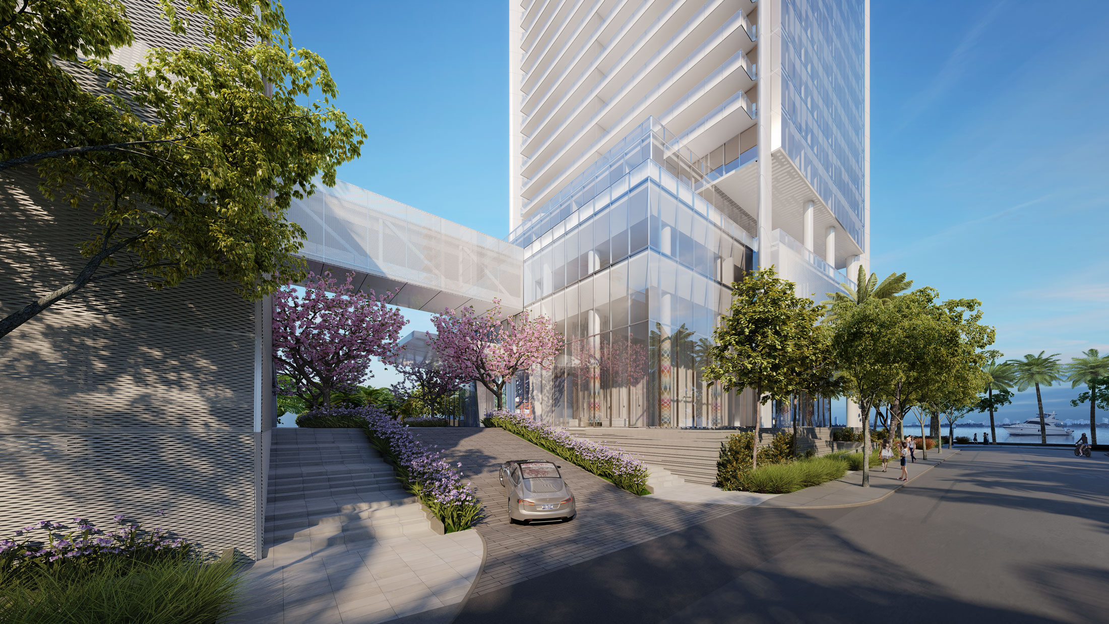 Architectural Rendering of the entrance of the Missoni Baia project located in Miami, Florida