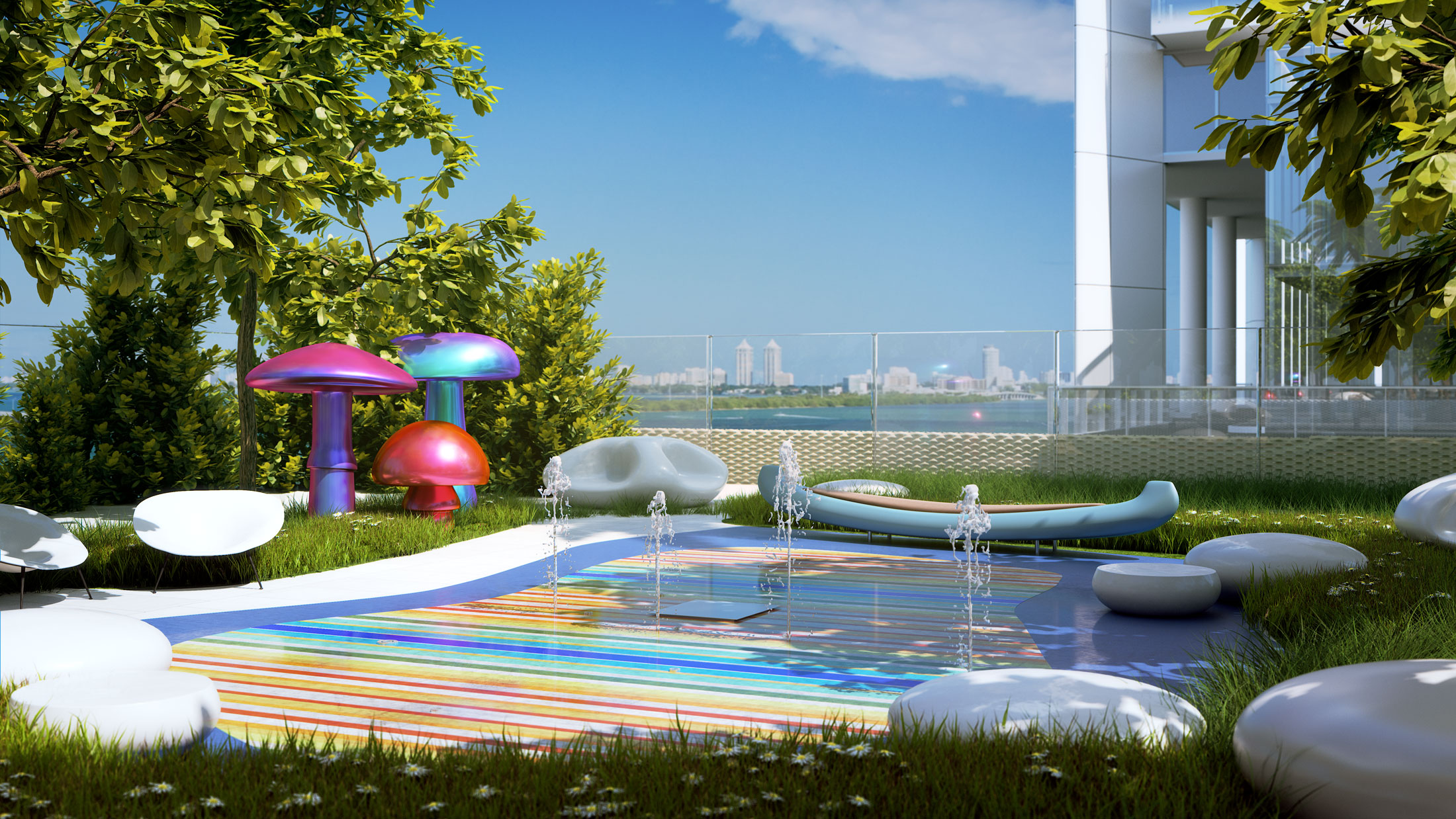 Architectural Rendering of the kids pool of the Missoni Baia project located in Miami, Florida