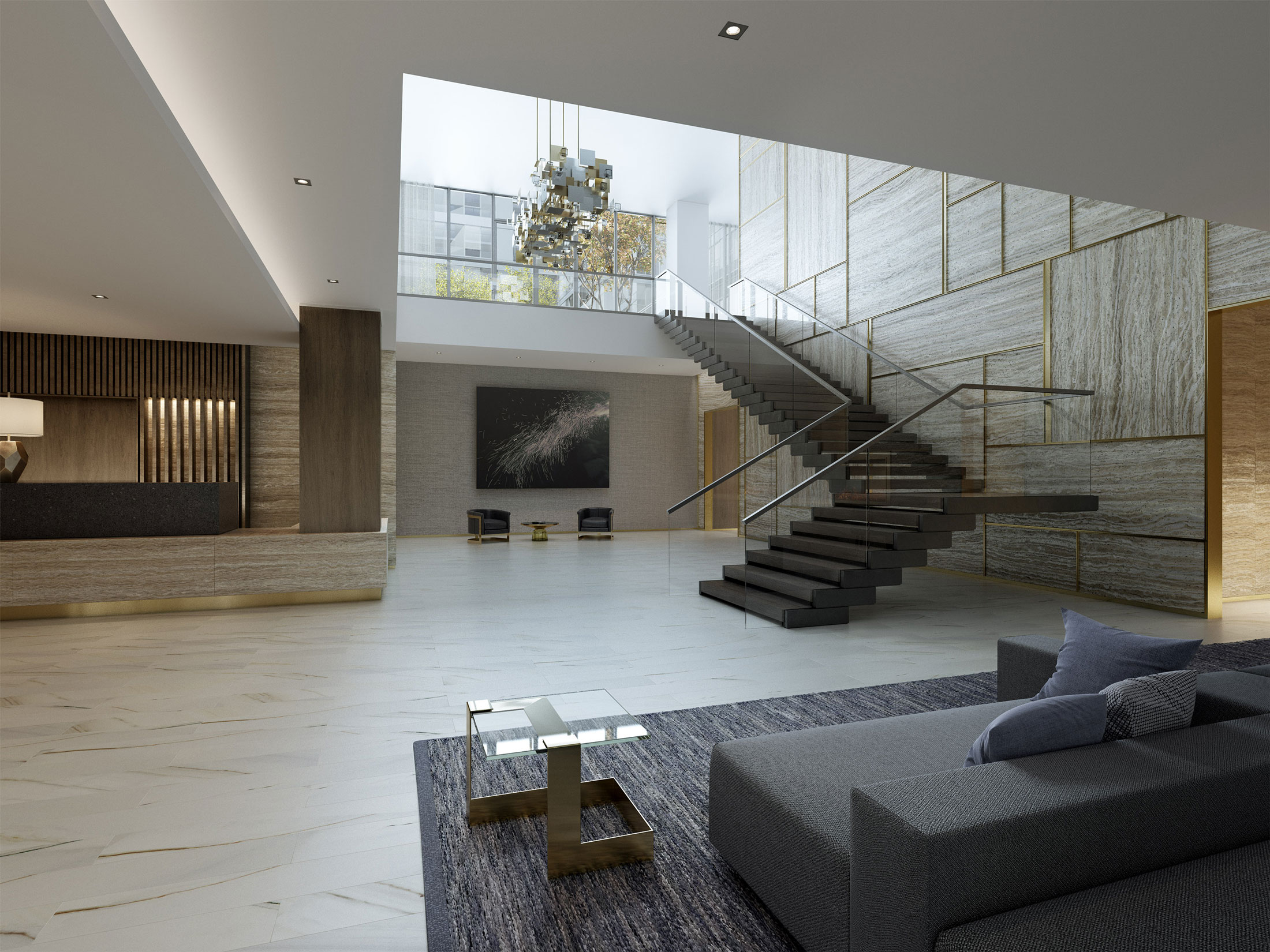 Architectural Rendering of the interior of the One Hill South project located in Washington, DC