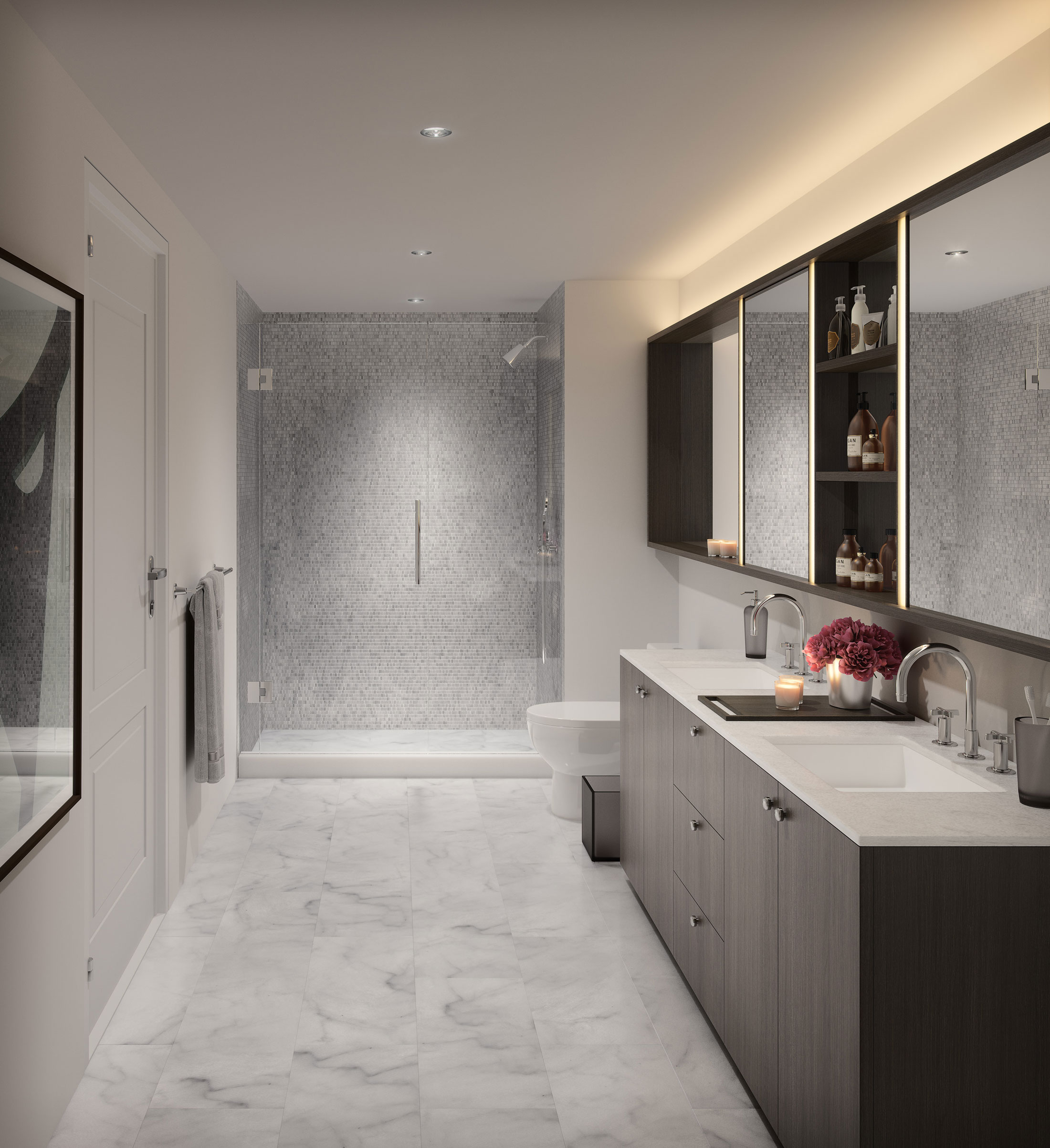 Architectural Rendering of one of the bathrooms on the One Hill South project located in Washington, DC