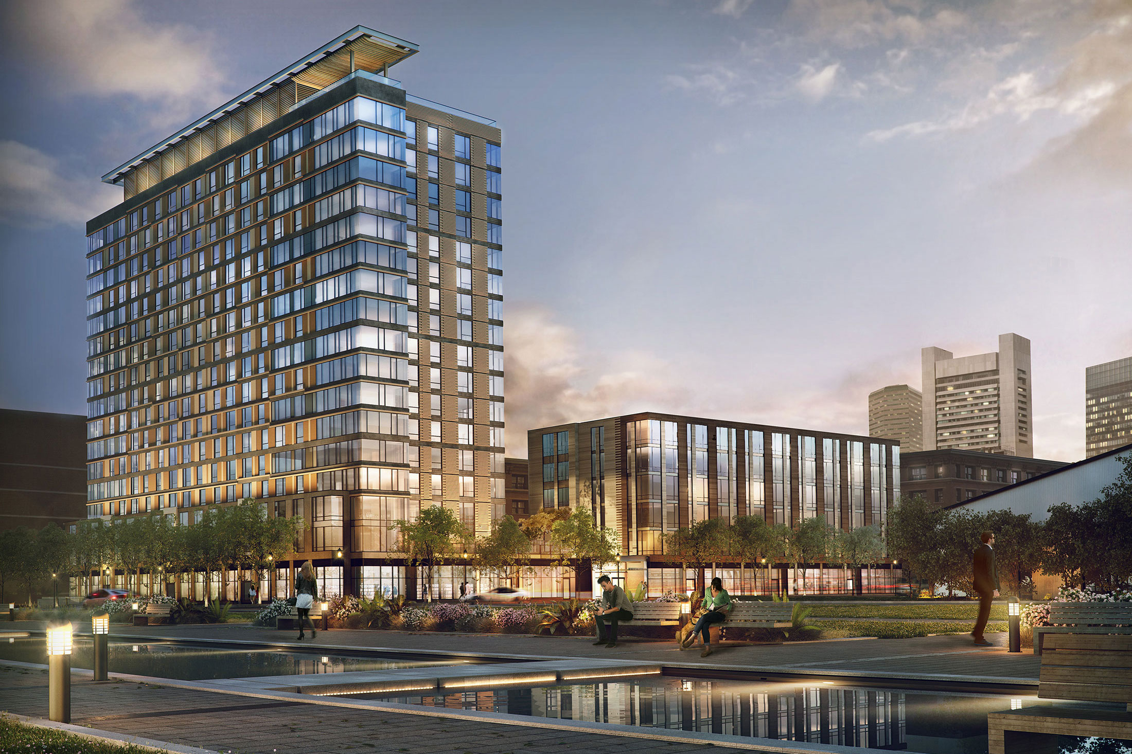 Architectural Rendering of the exterior of the Watermark Seaport project located in Boston, Massachusetts