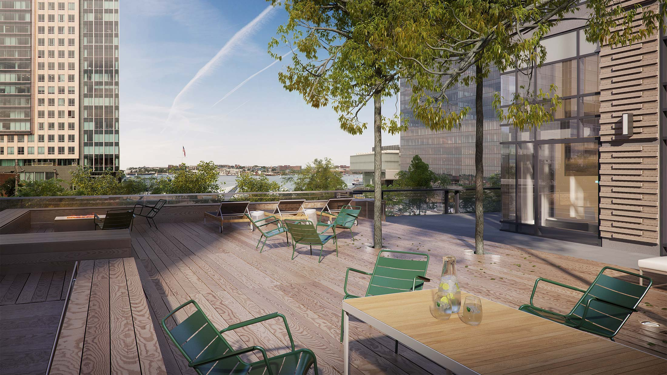 Architectural Rendering of the terrace of the Watermark Seaport project located in Boston, Massachusetts