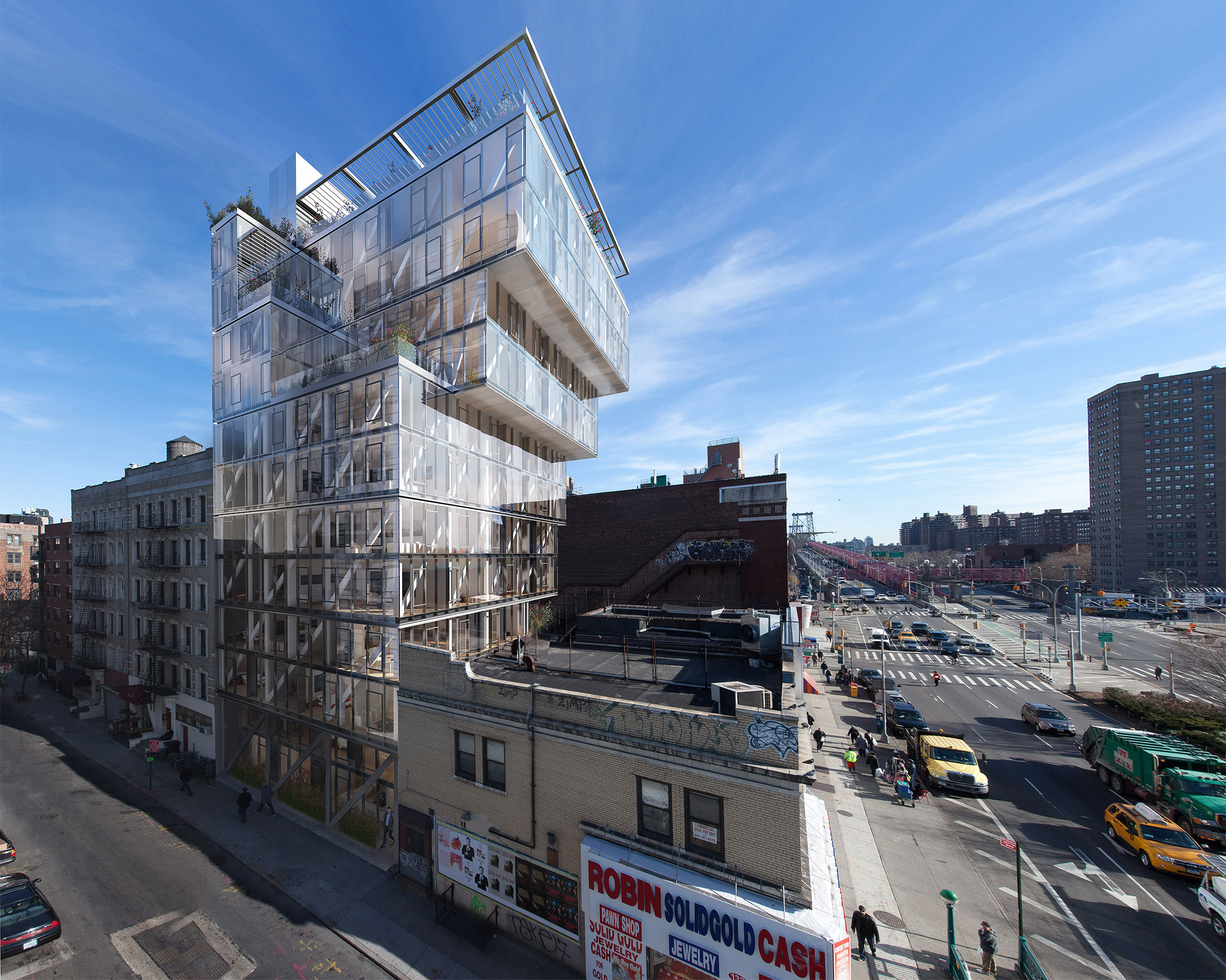 Architectural Rendering of the exterior of the 100 Norfolk Street project located on the Lower East Side, New York City