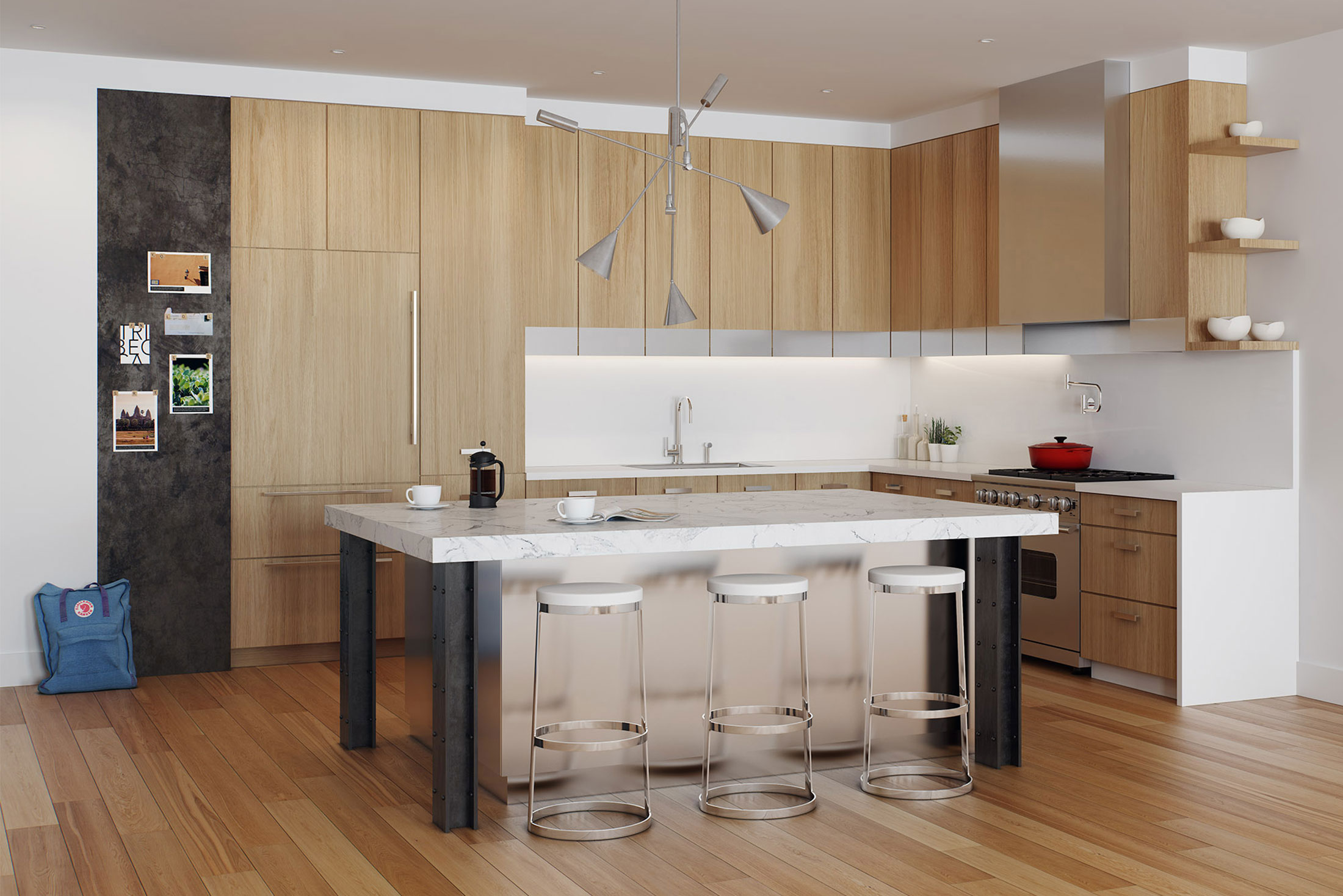 Architectural Rendering of the kitchen of the 15 Hubert Street project located in Tribeca, New York City