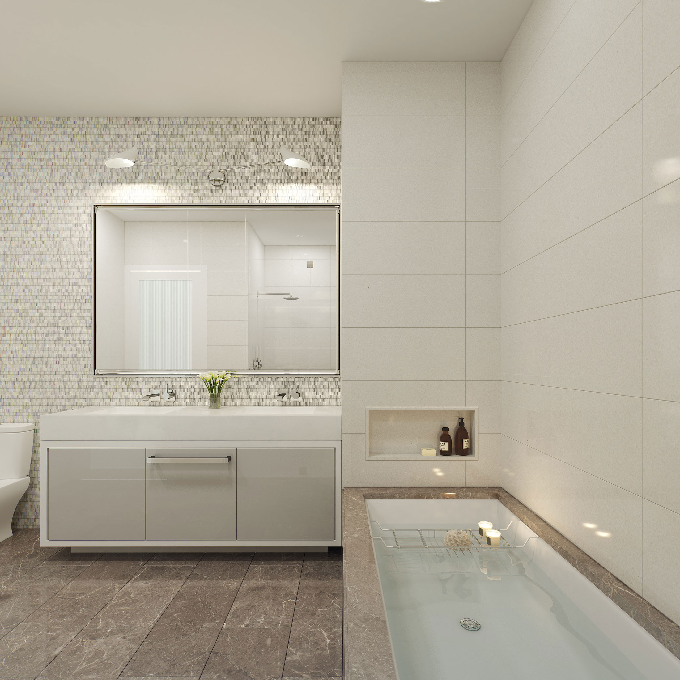 Architectural Rendering of the bathroom of the 15 Hubert Street project located in Tribeca, New York City