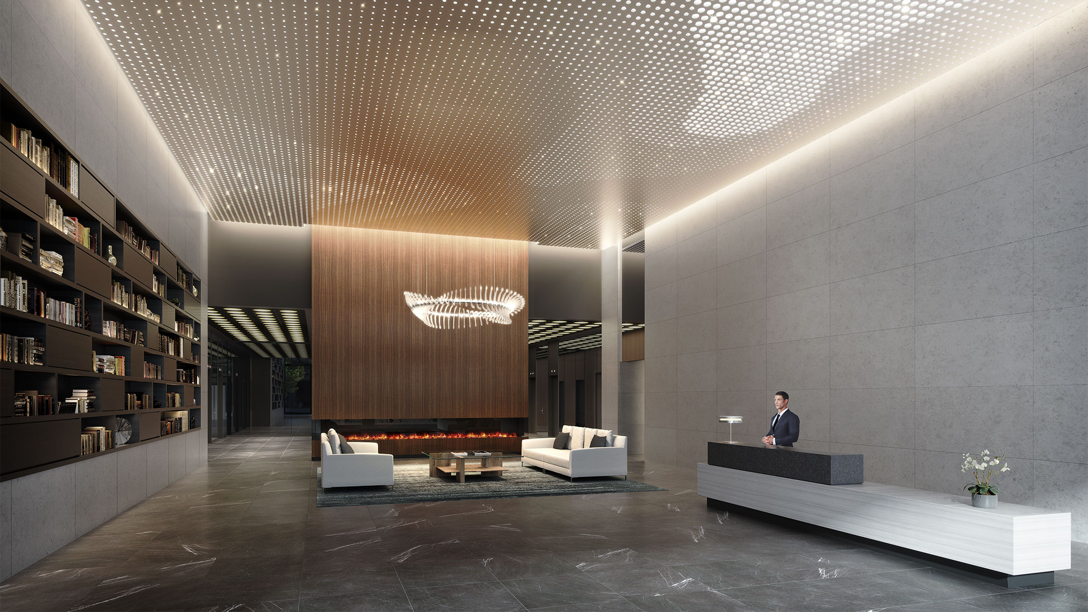 Architectural Rendering of the lobby of the 180 Water Street project located in the Financial District, New York City