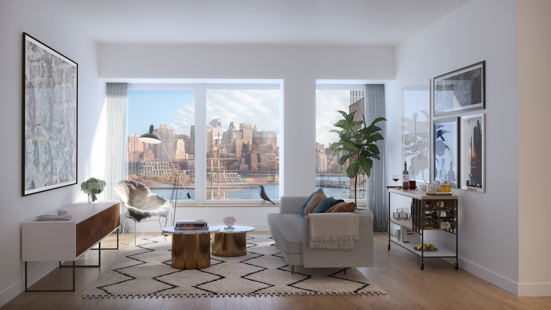 Architectural Rendering of the living room of the 180 Water Street project located in the Financial District, New York City