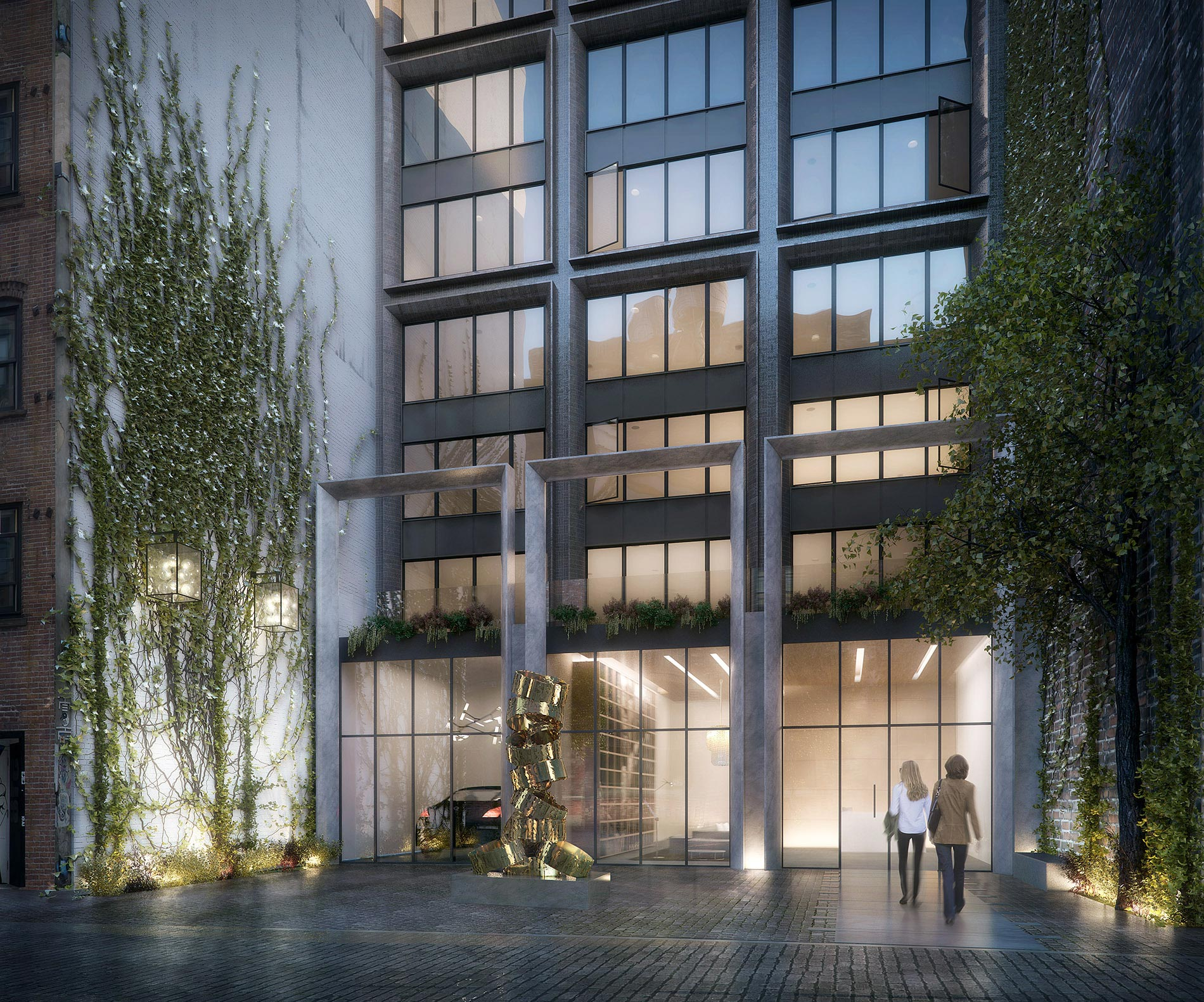 Architectural Rendering of the entrance of the 5 Franklin Place project located in Tribeca, New York City