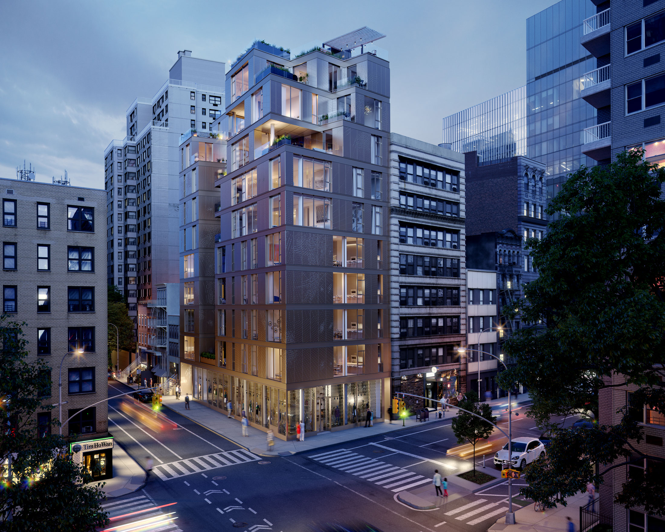 Architectural Rendering of the exterior of the 80 East 10th Street project located in Greenwich Village in New York City