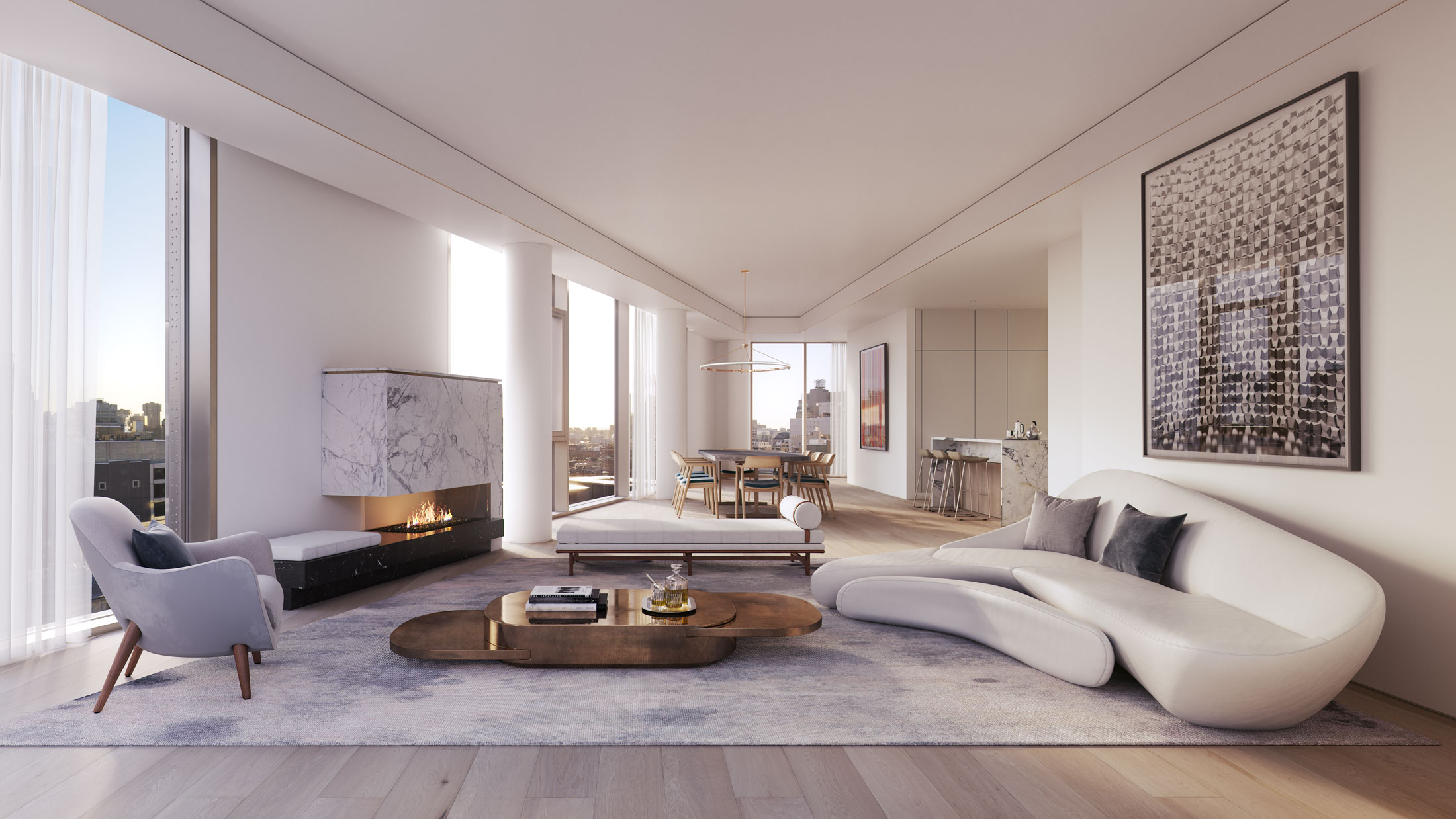 Architectural Rendering of the living room of the 80 East 10th Street project located in Greenwich Village in New York City