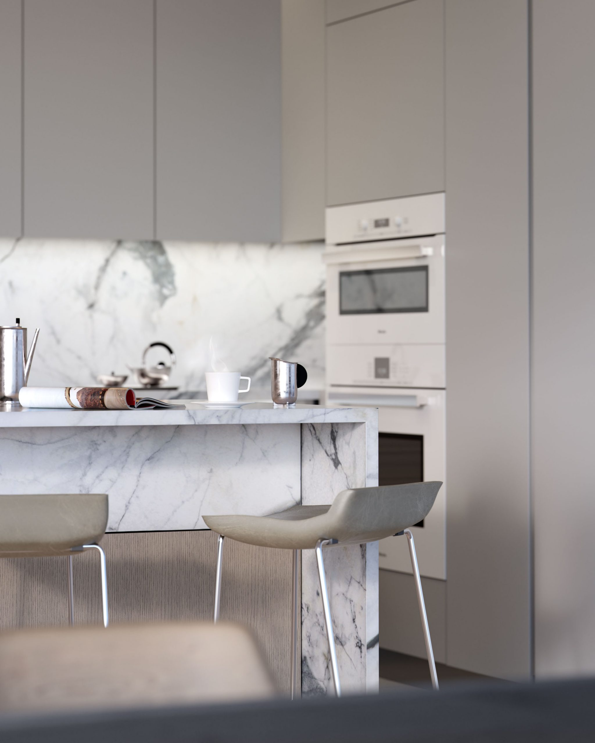 Architectural Rendering of a kitchen detail of the 80 East 10th Street project located in Greenwich Village in New York City