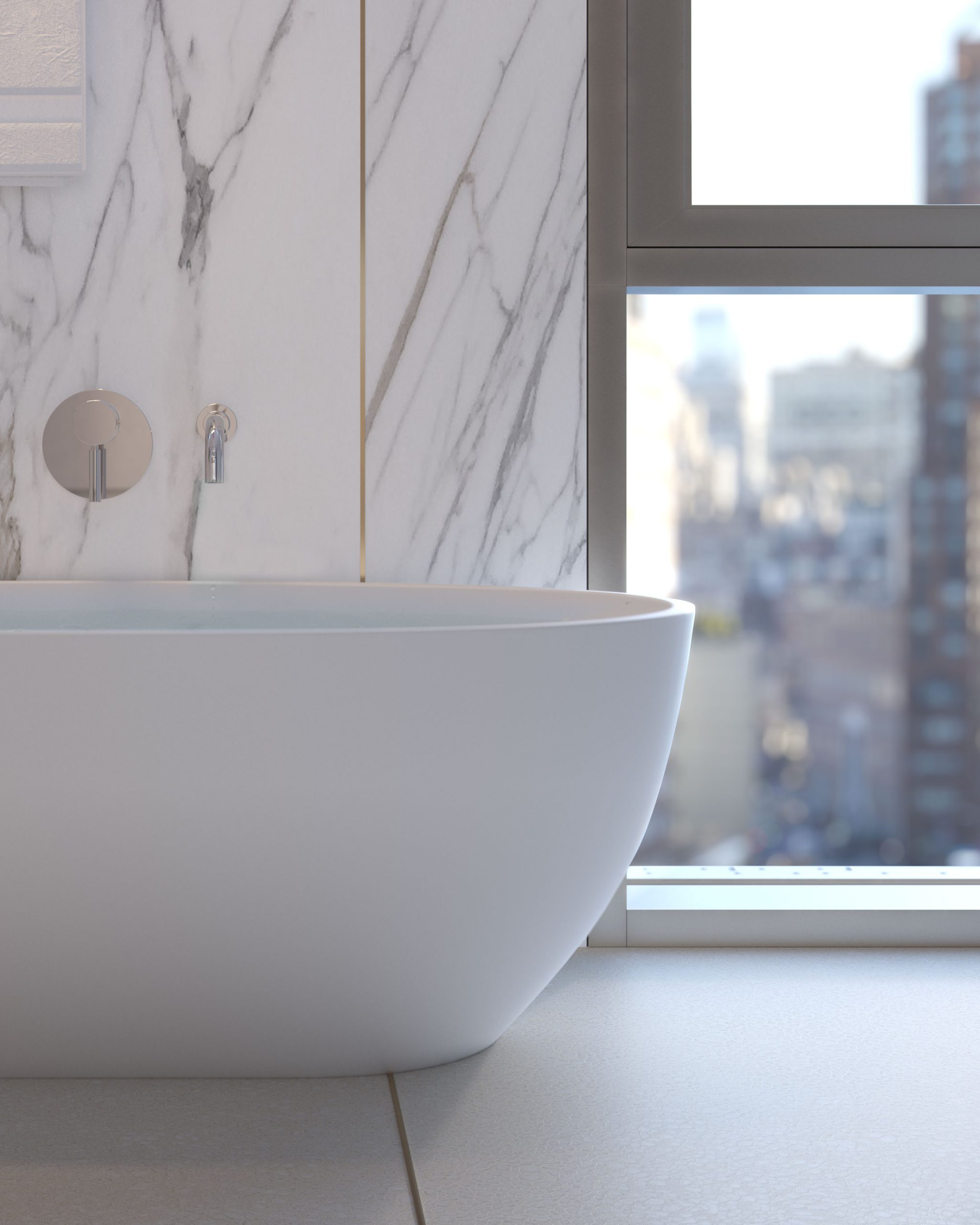 Architectural Rendering of a bathroom detail of the 80 East 10th Street project located in Greenwich Village in New York City