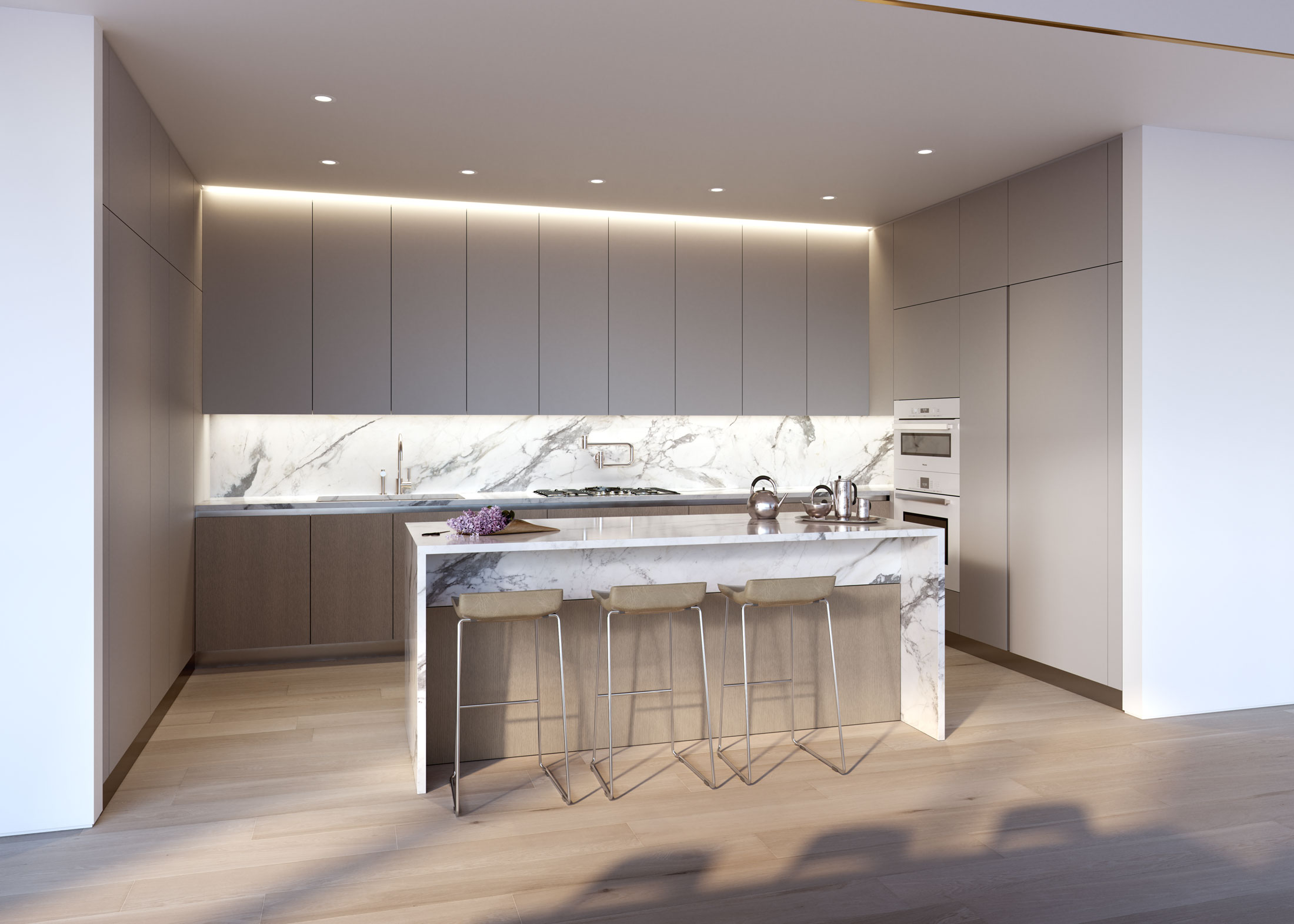 Architectural Rendering of the kitchen of the 80 East 10th Street project located in Greenwich Village in New York City
