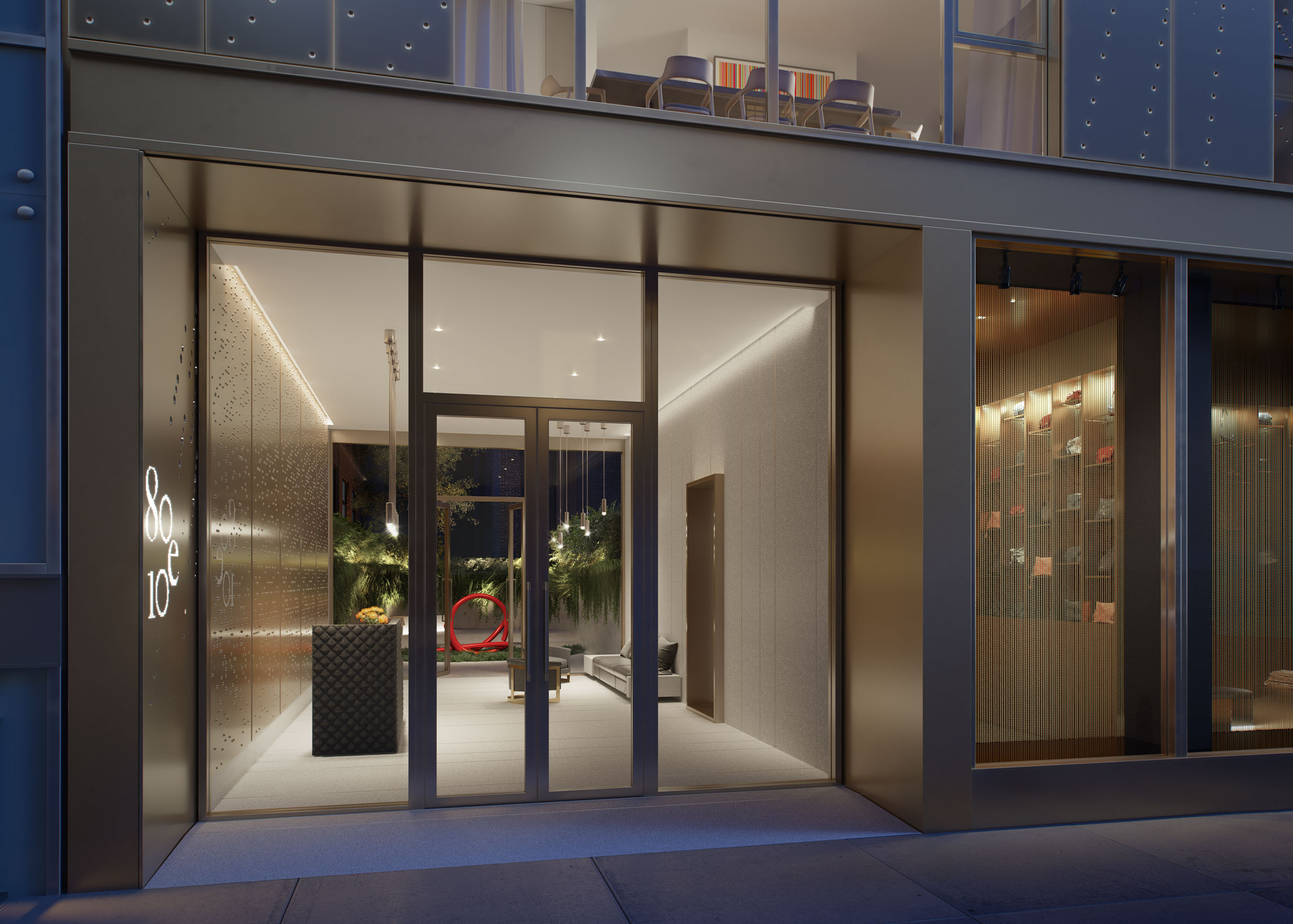 Architectural Rendering of the entrance of the 80 East 10th Street project located in Greenwich Village in New York City
