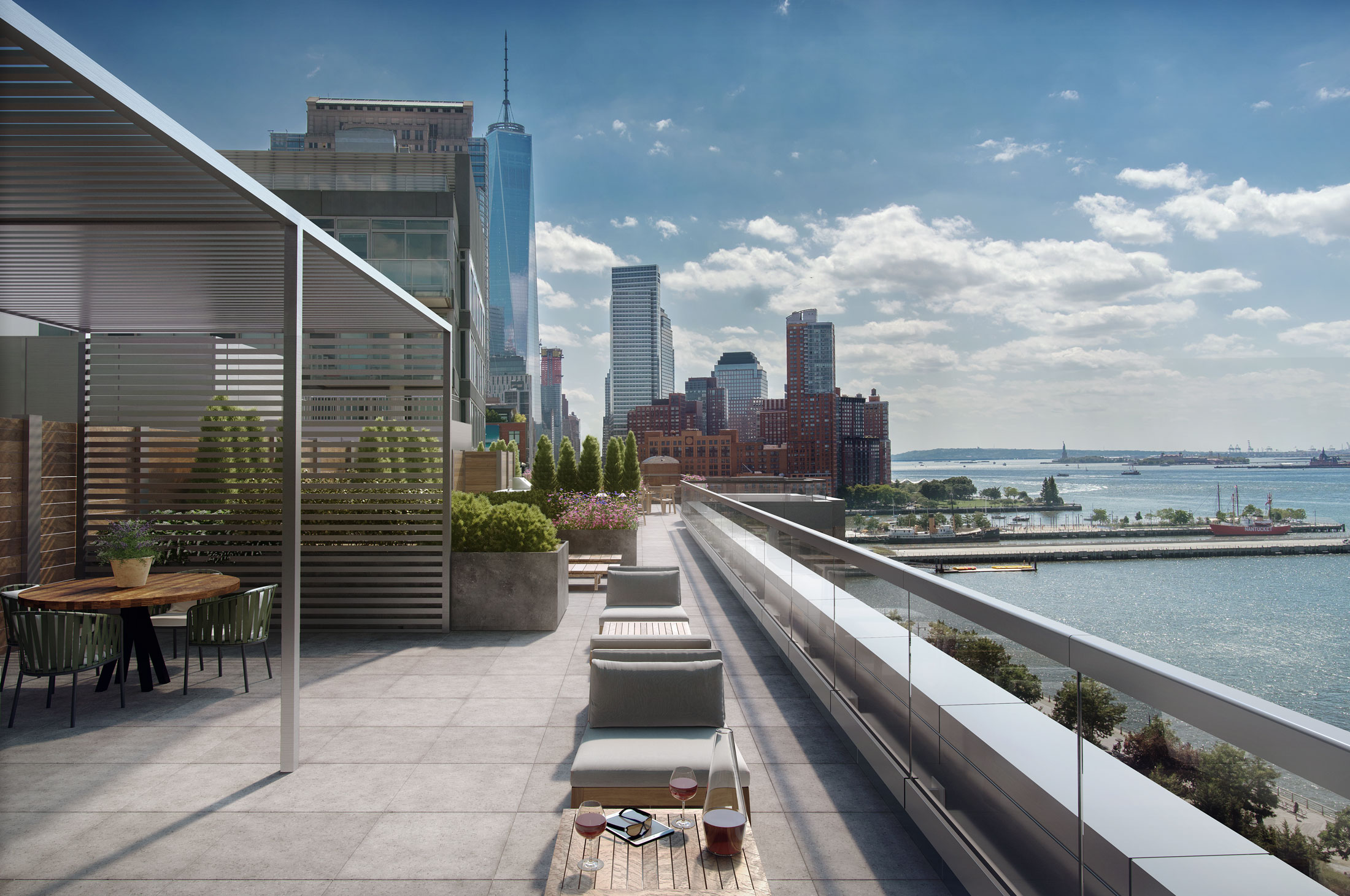 Architectural Rendering of the rooftop of the 456 Washington Street project located in Tribeca, New York City
